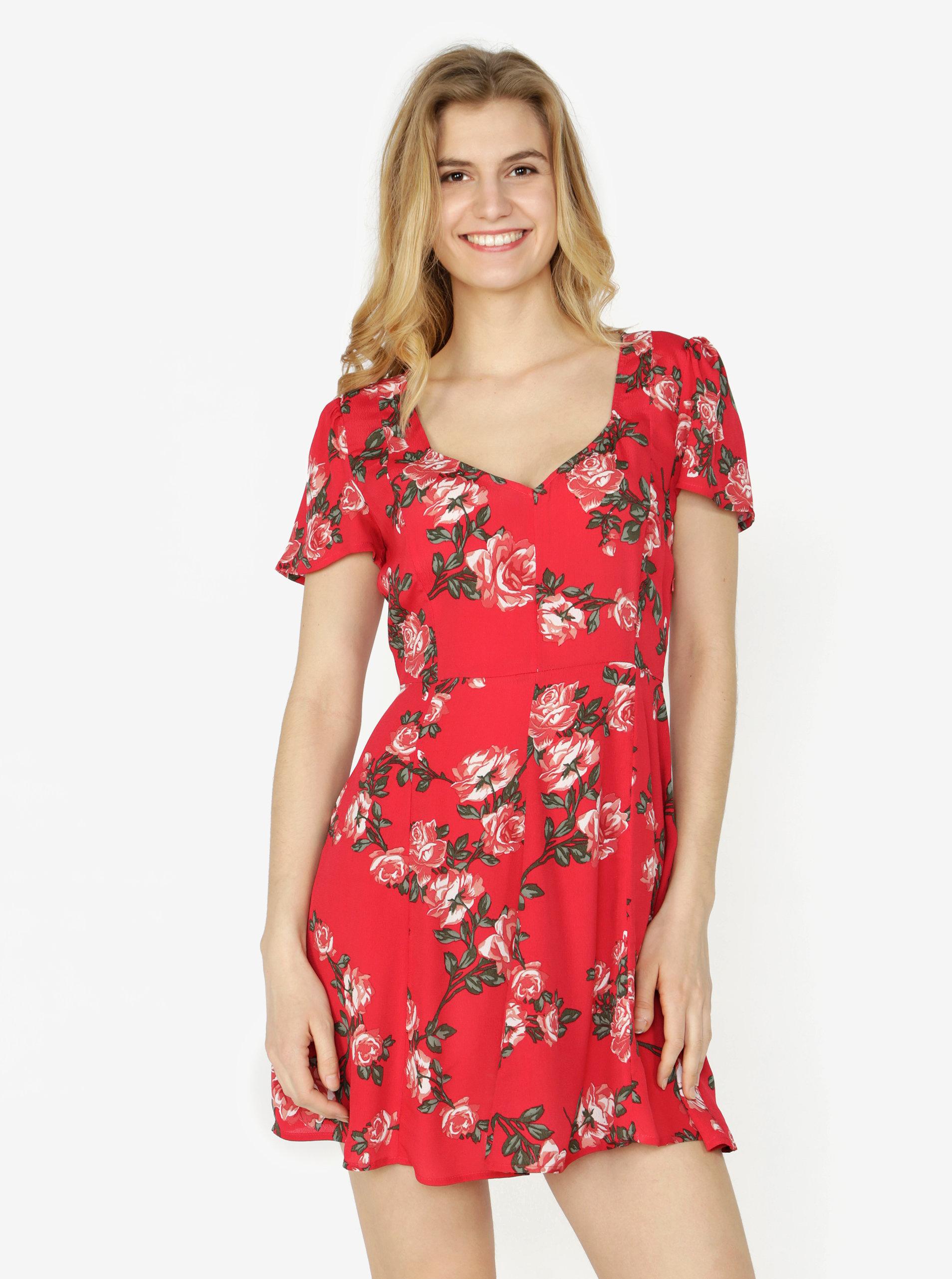 c02352fa166 Červené květované šaty Miss Selfridge ...