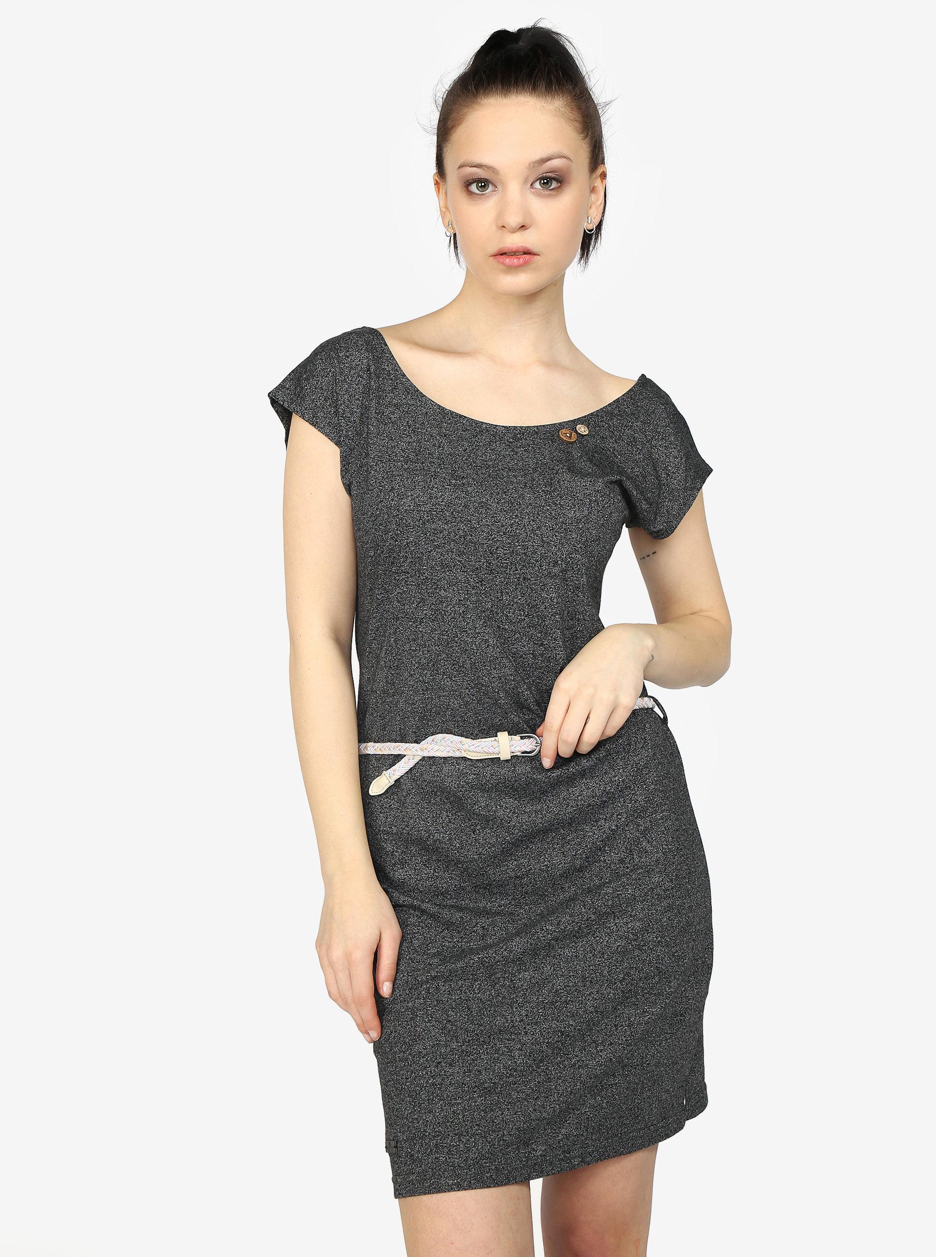 b4b4f4d961da Tmavě šedé žíhané šaty s pásky na zádech Ragwear Sofia ...