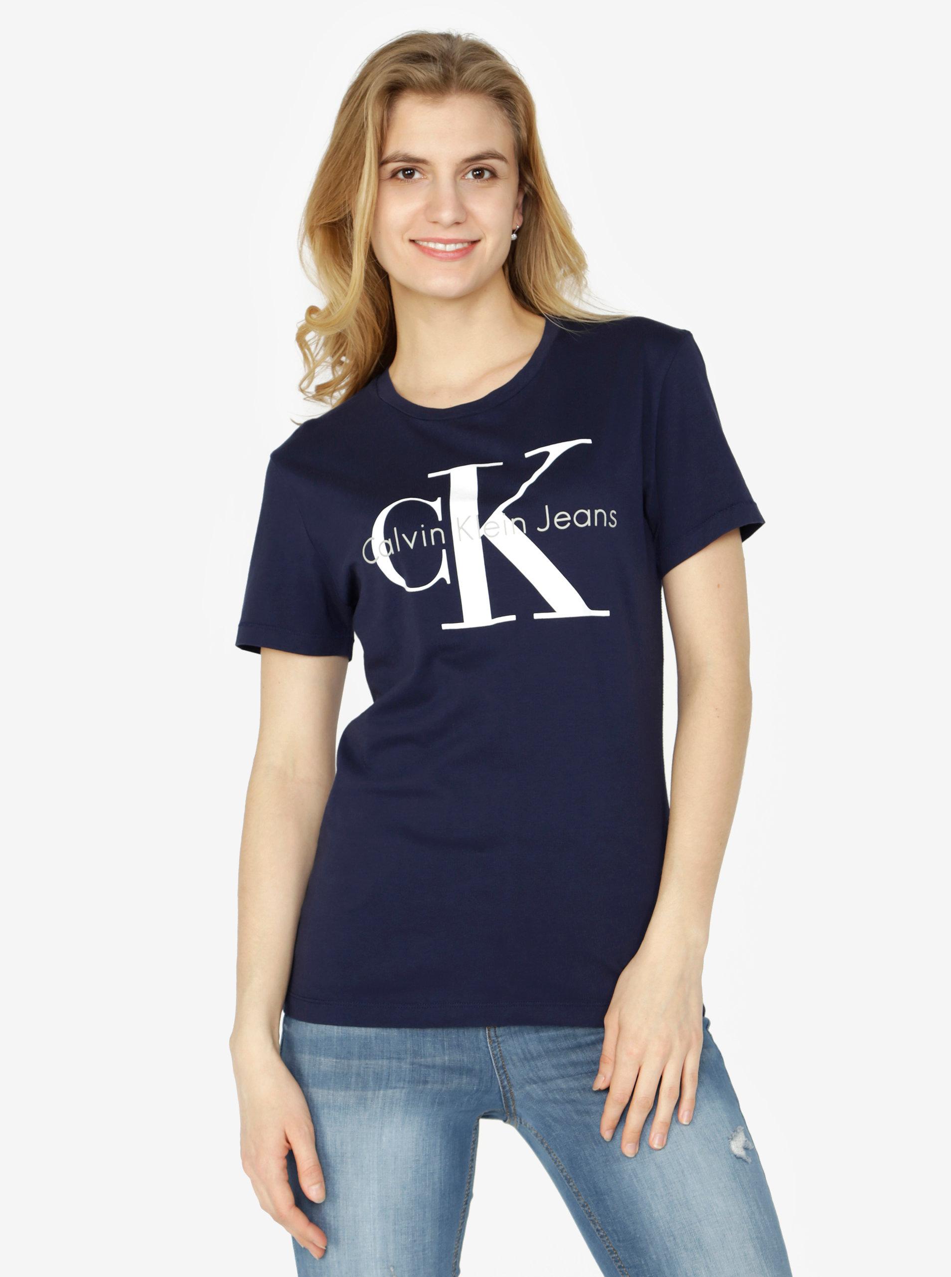 03befae1479f Tmavě modré dámské tričko s potiskem Calvin Klein Jeans Shrunken ...