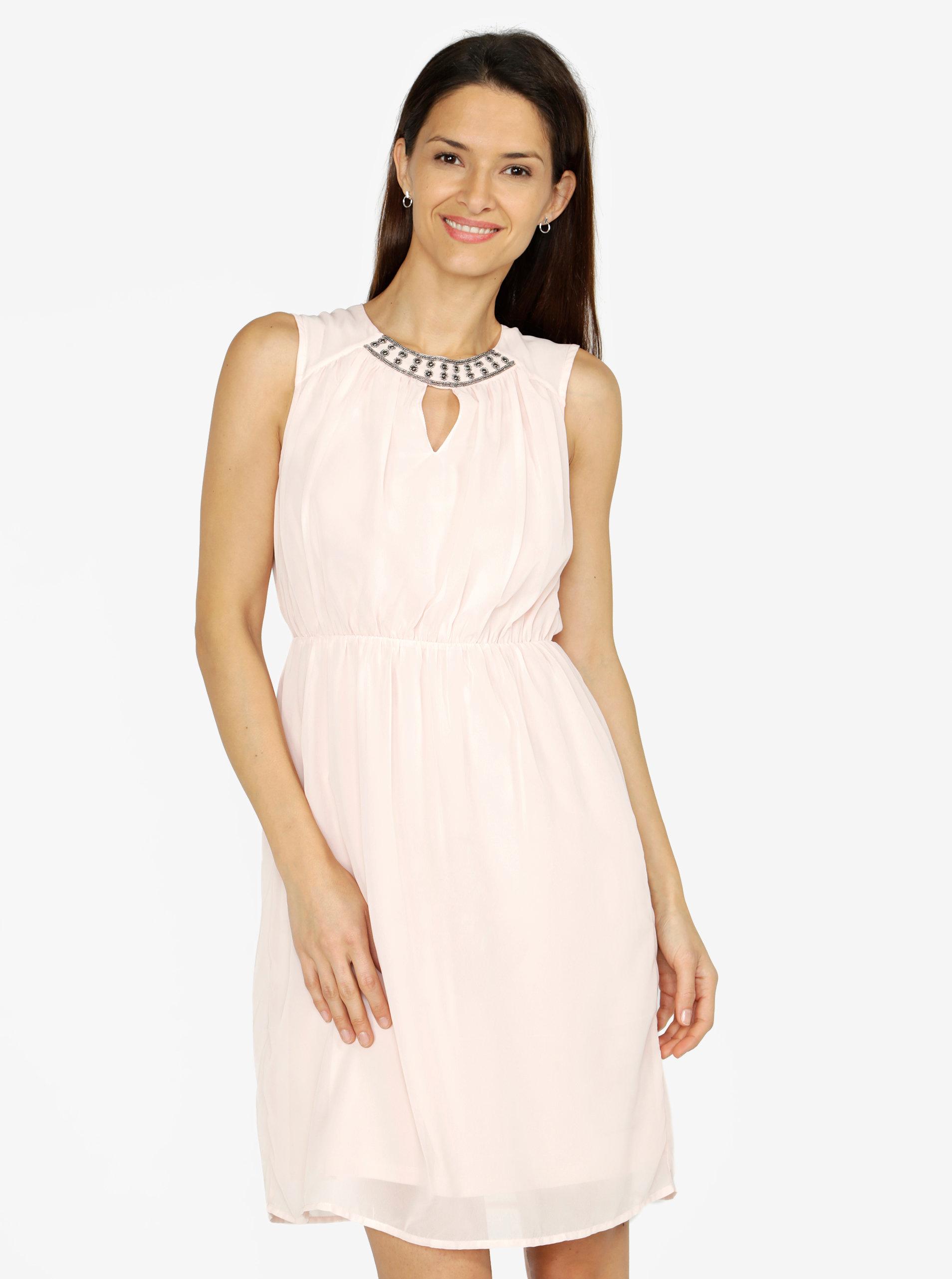Světle růžové šaty s korálkovou výšivkou VERO MODA Wam ... e09ee86748