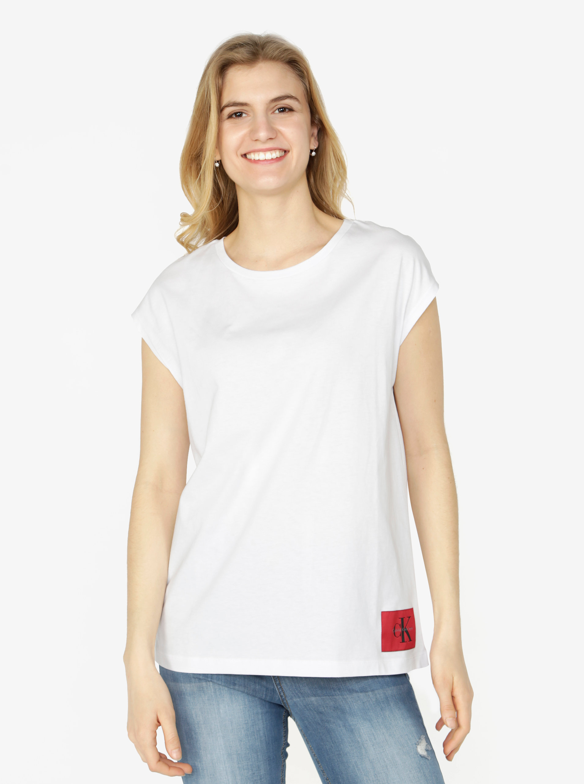 Bílé dámské tričko bez rukávů Calvin Klein Jeans Tika ... 23f7ab97a1