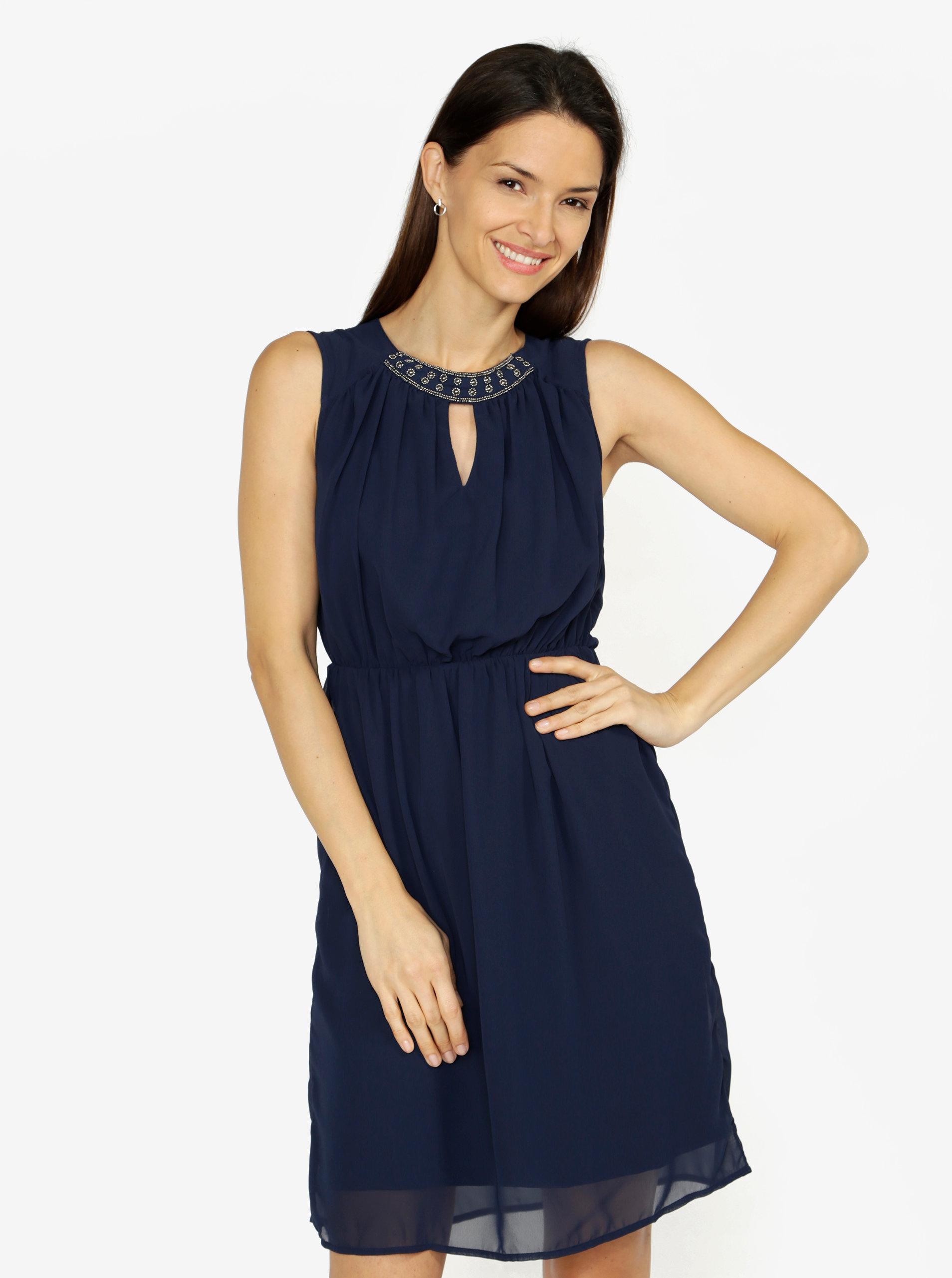 32b137382cc7 Tmavě modré šaty s korálkovou výšivkou VERO MODA Wam ...