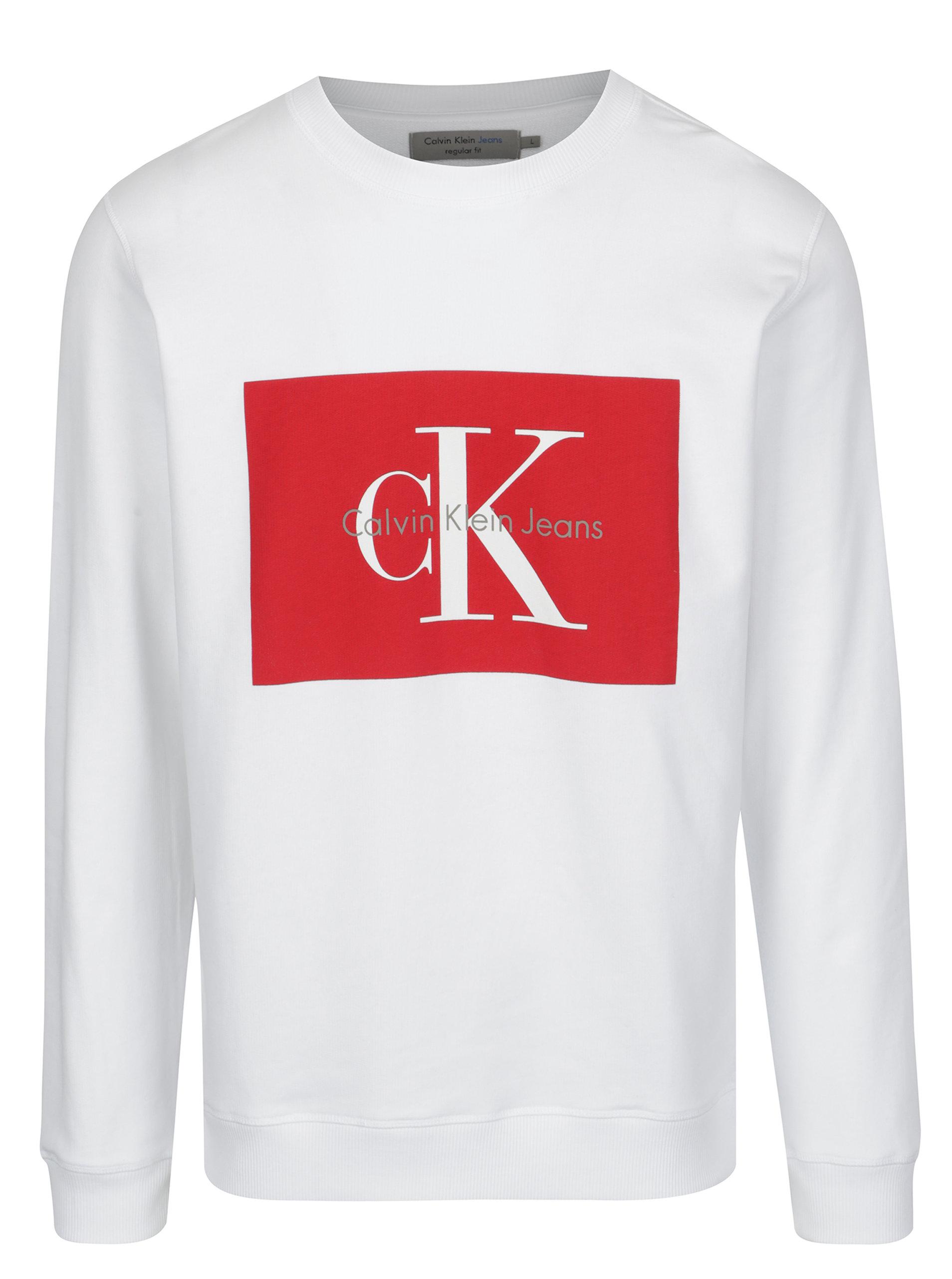 10b0c8eeb Bílá pánská mikina s potiskem v červené barvě Calvin Klein Jeans Hotoro