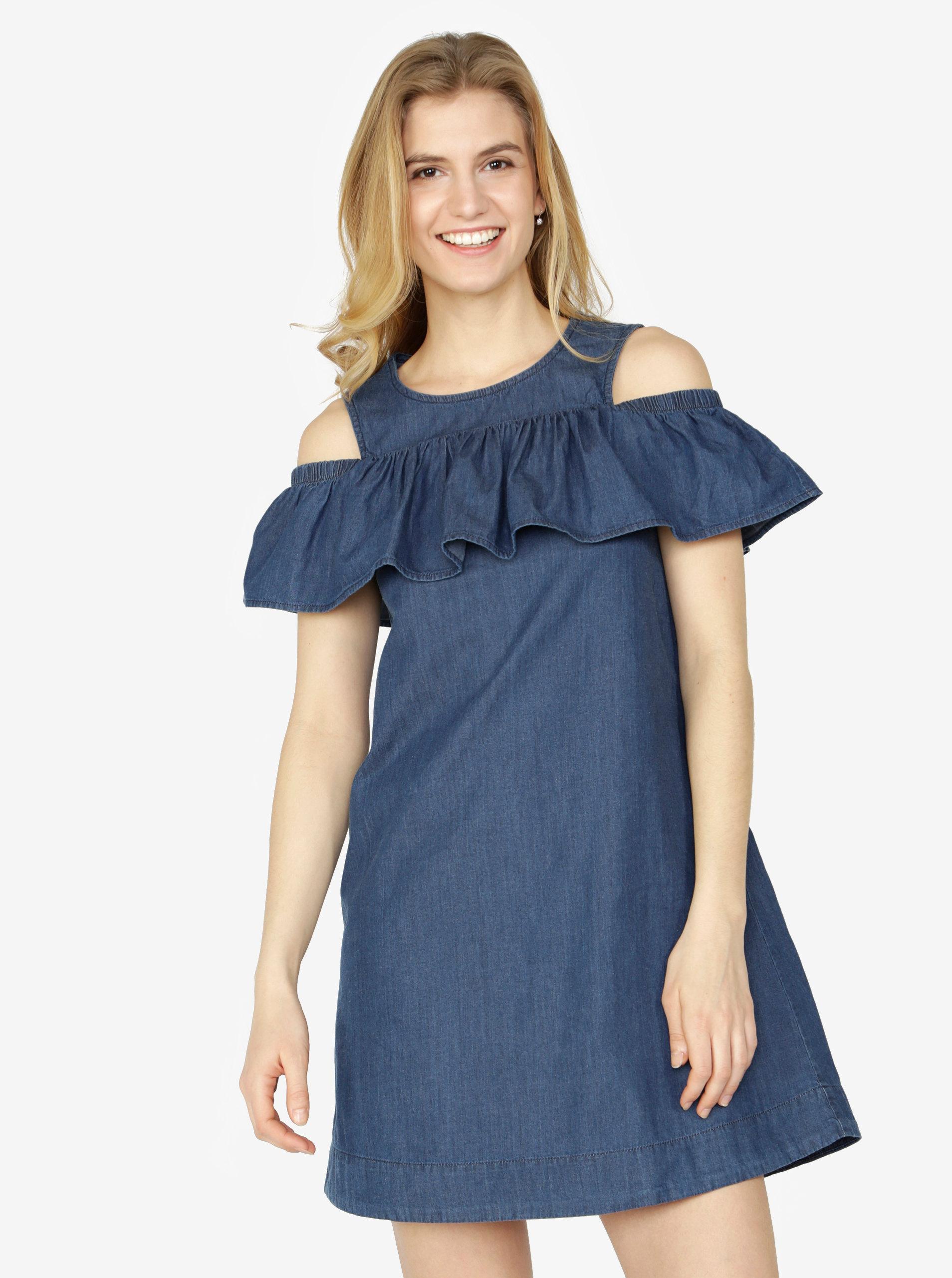 Tmavě modré džínové šaty s průstřihy na ramenou a volánem VERO MODA Samba 462bb92bc7