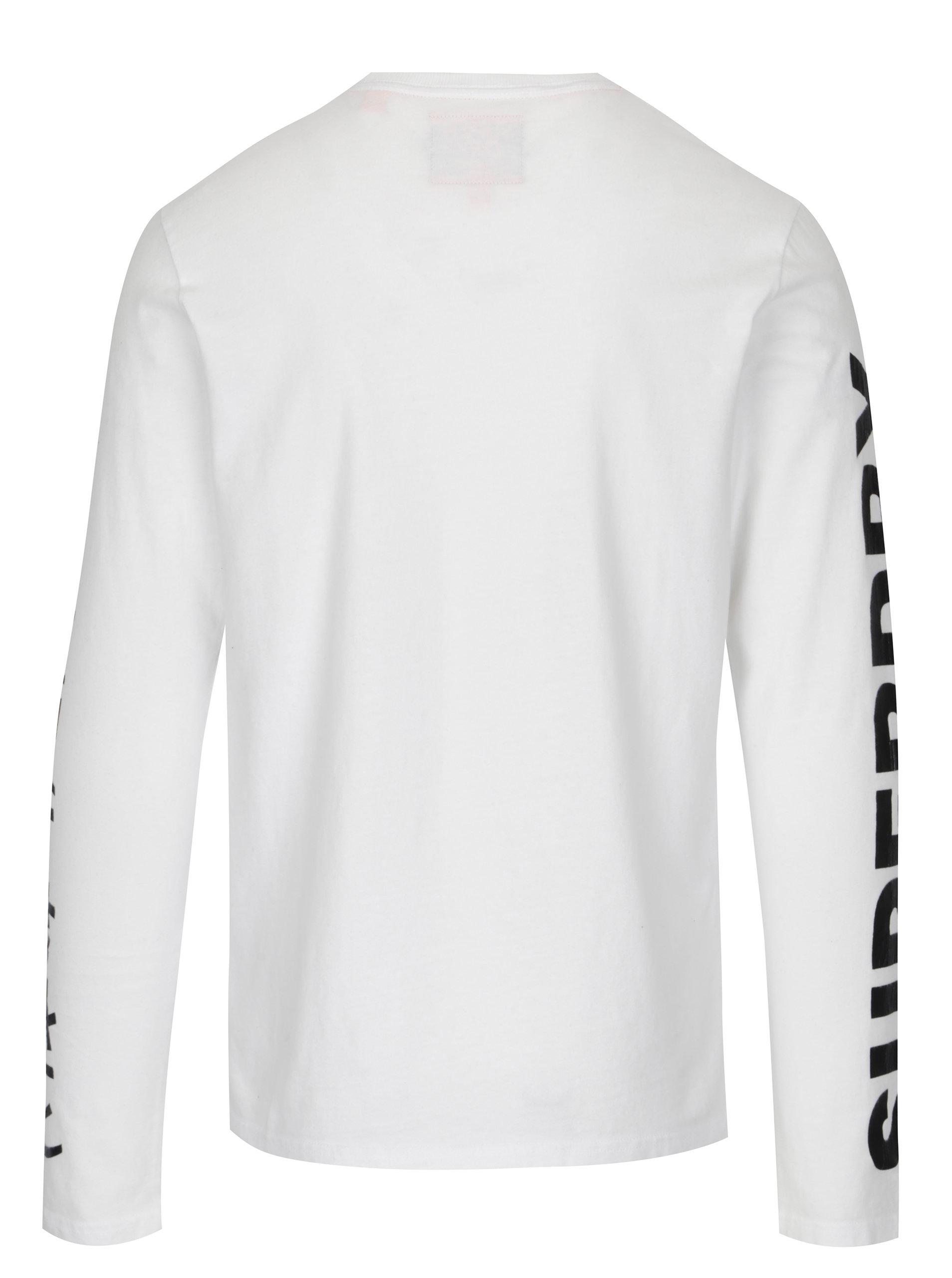 ae95e90f8599 Biele pánske tričko s dlhým rukávom Superdry ...