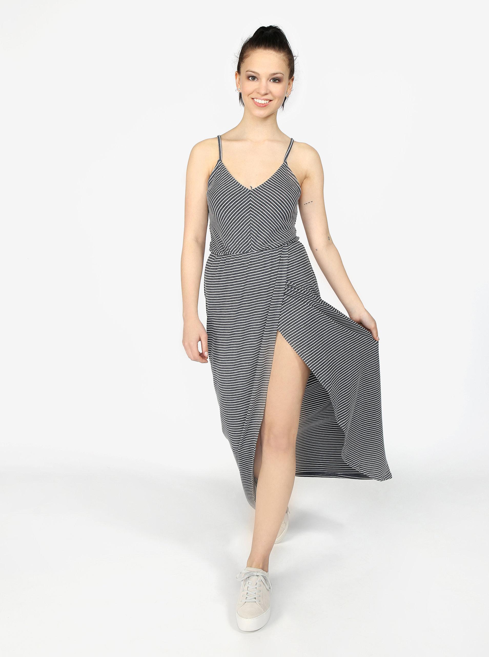 108751315fb3 Bielo-sivé pruhované maxi šaty Superdry ...