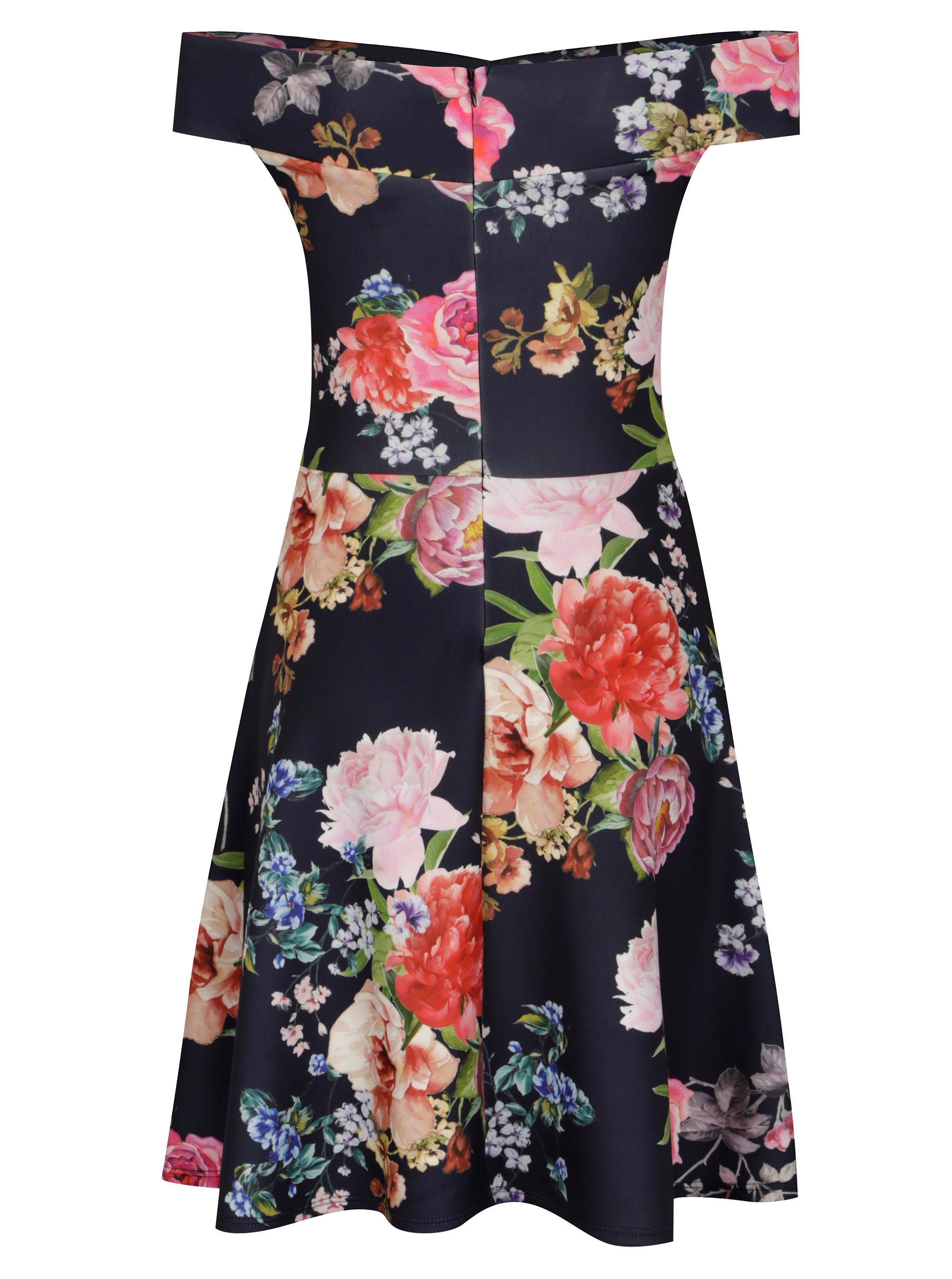 361241106992 Tmavomodré kvetované šaty s odhalenými ramenami Scarlett B ...
