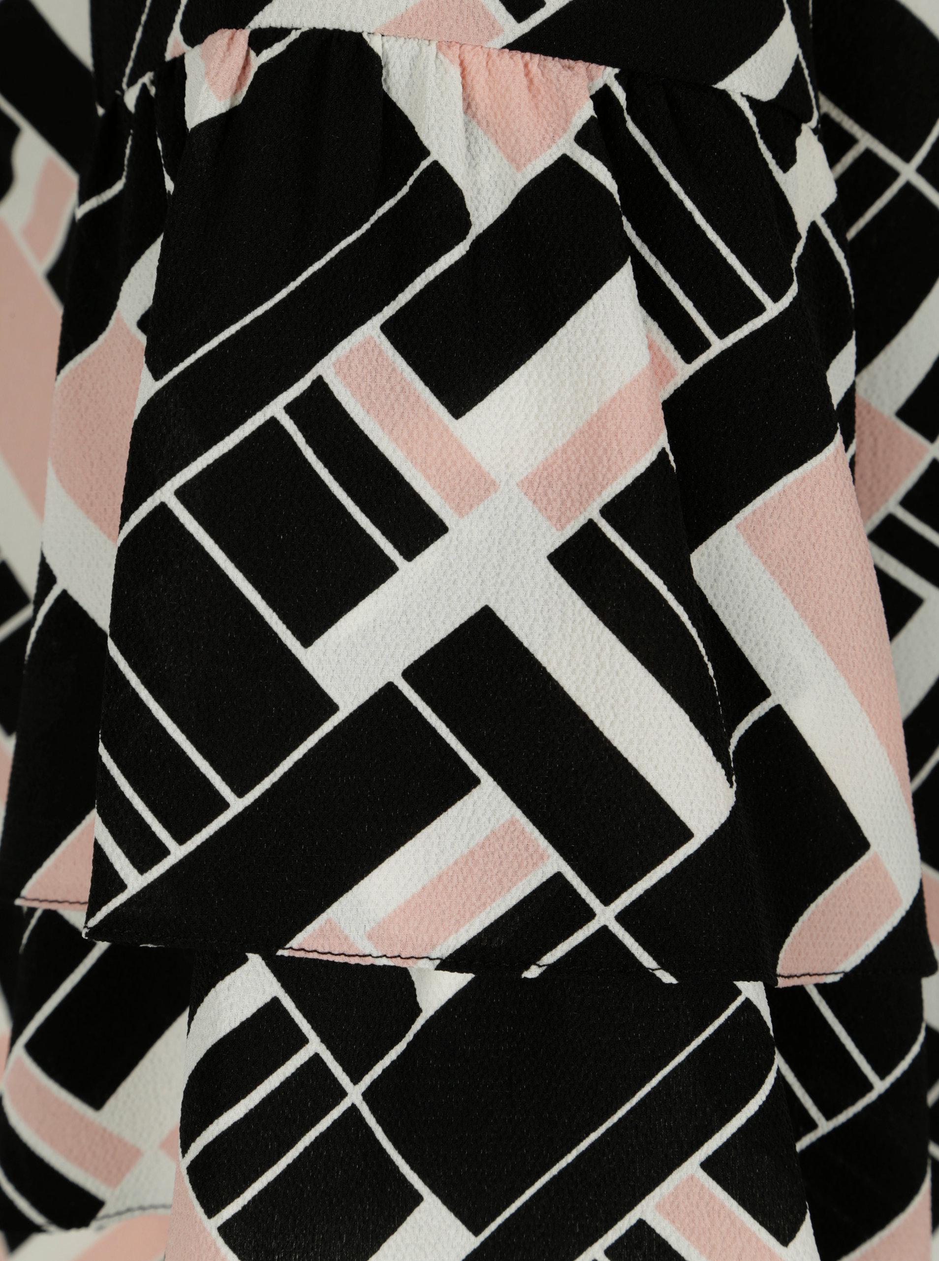 af0b991e247e Čierna vzorovaná tunika s volánmi Dorothy Perkins Curve ...