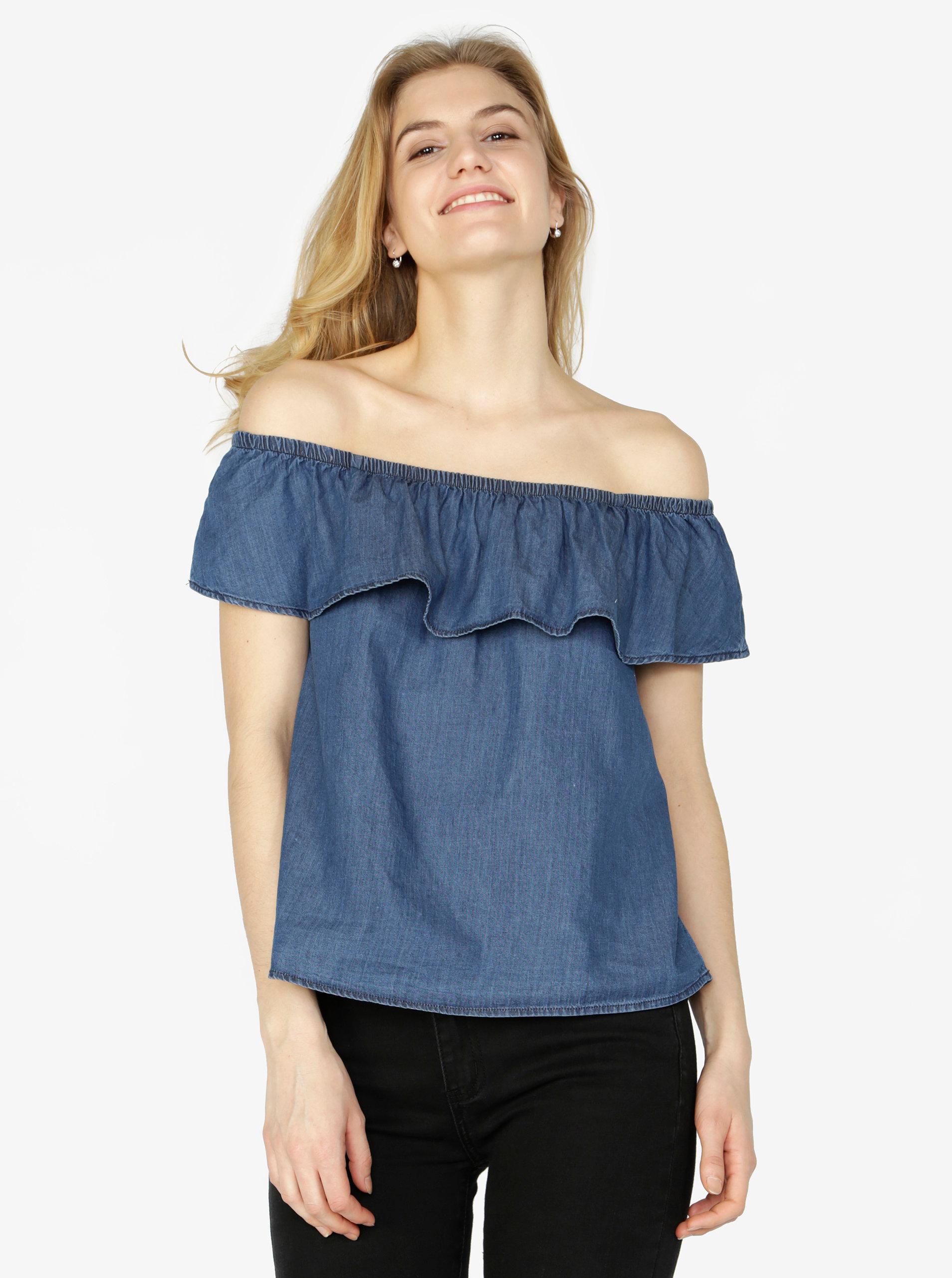 3bef7b659c2e Tmavě modrý džínový top s odhalenými rameny VERO MODA Emilia ...