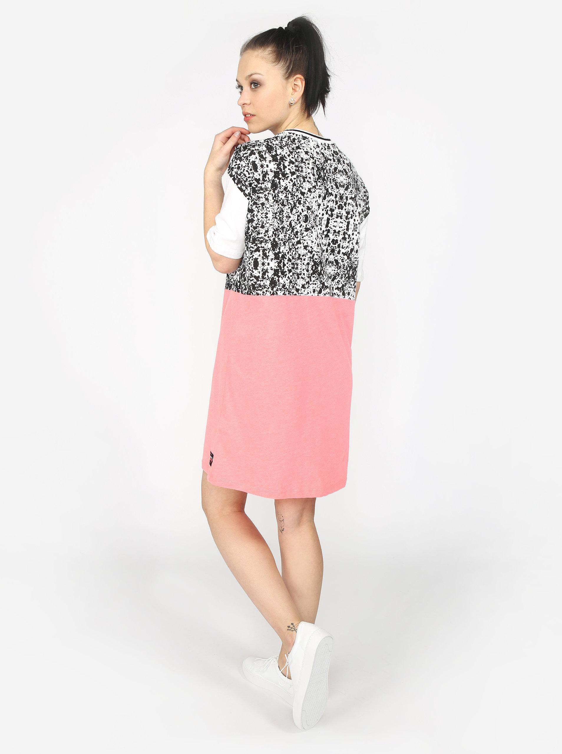 Bílo-růžové dámské šaty s potiskem Superdry ... 7a3f9035bf