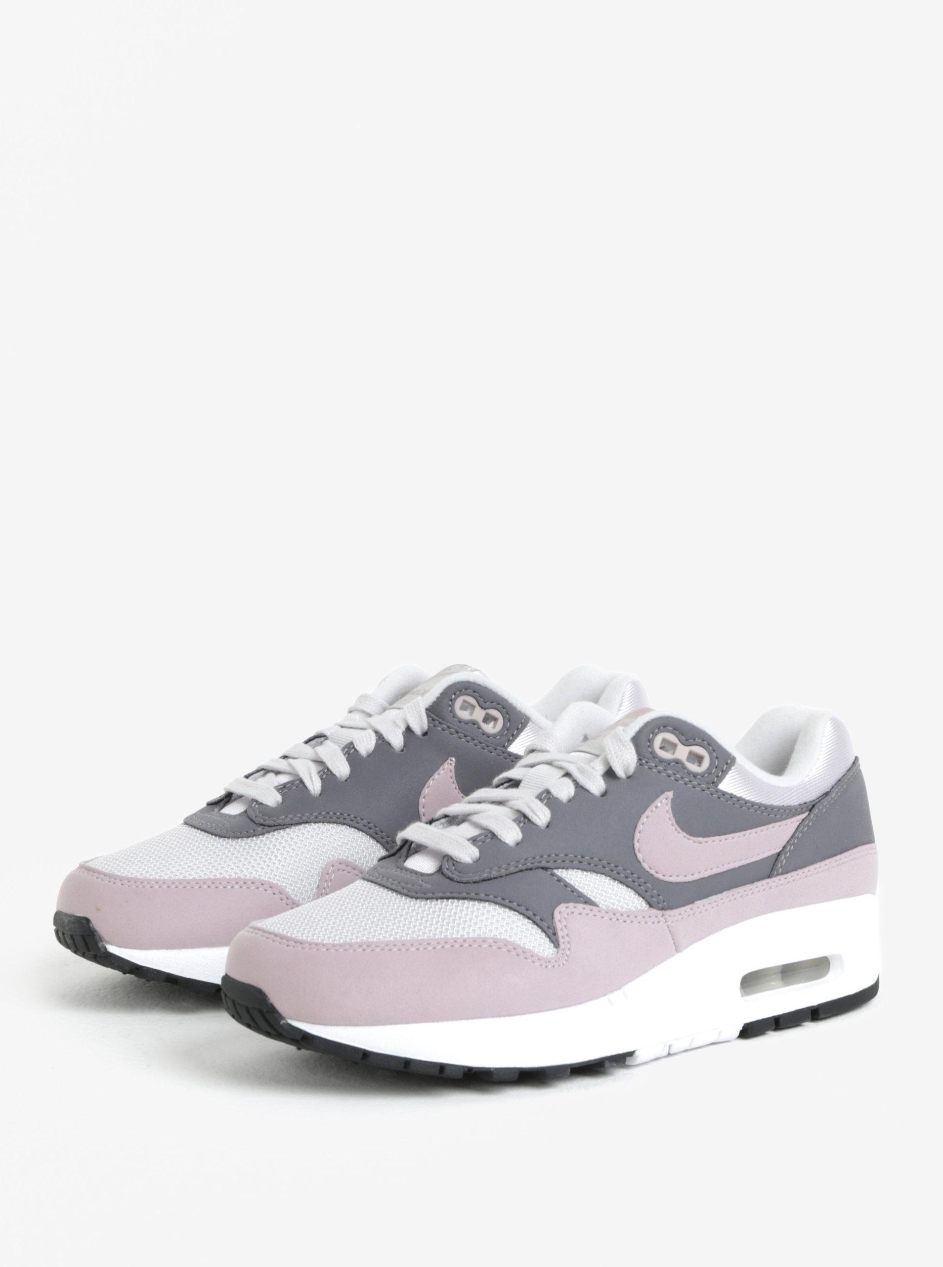 Šedo-růžové dámské tenisky Nike Air Max 1 ... e60e092f4b3