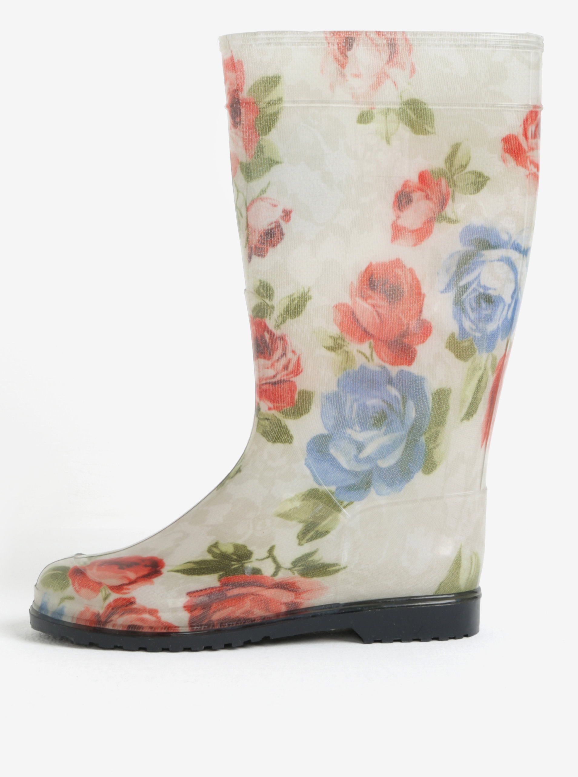 Krémové dámské květované holínky Oldcom Rain
