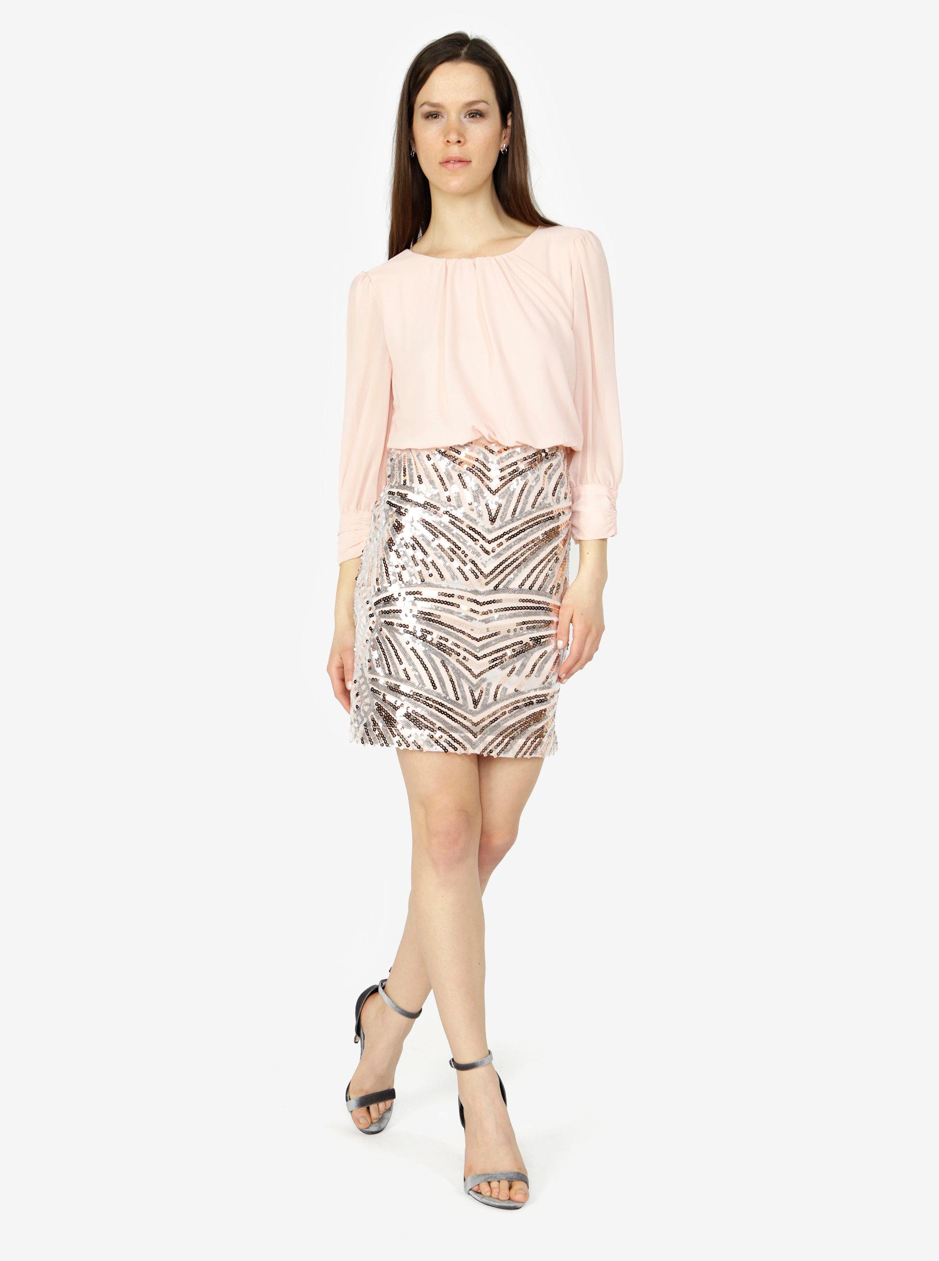 Staroružové šaty s flitrami VERO MODA Elenora ... 6be34aa047d