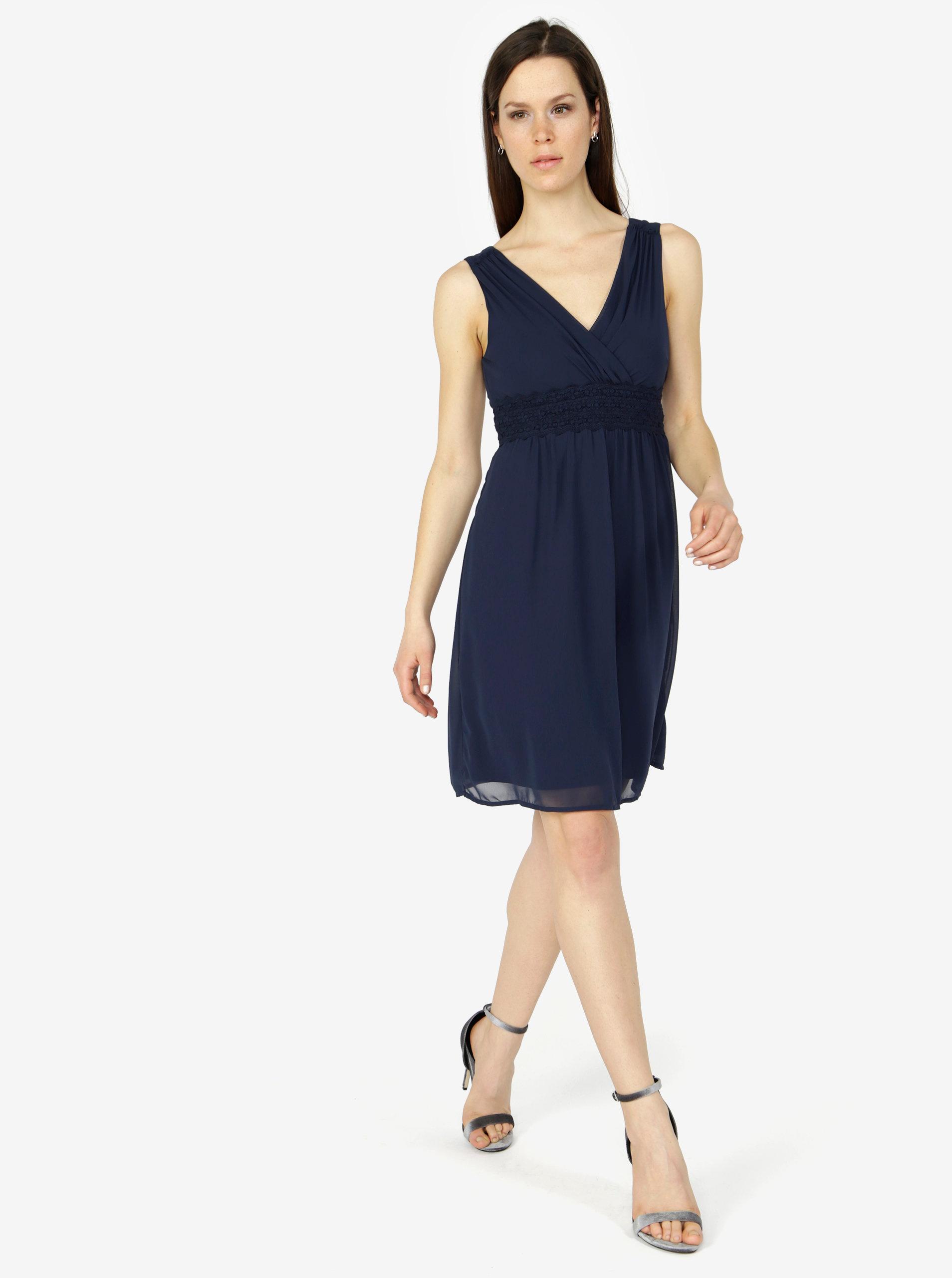 8b10e95ed231 Tmavě modré šaty s véčkovým výstřihem VERO MODA Mira ...