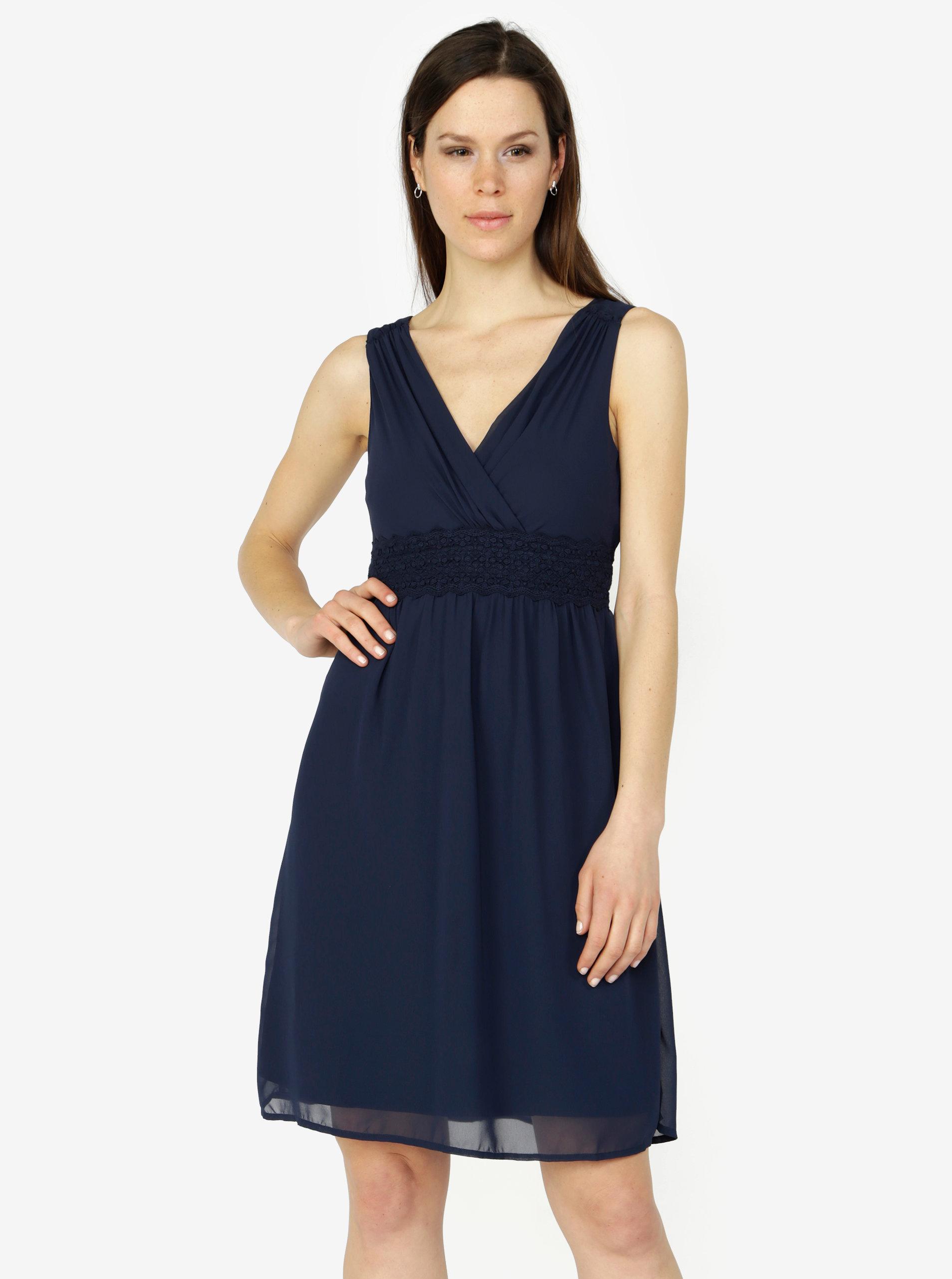 1c9d76dc092c Tmavě modré šaty s véčkovým výstřihem VERO MODA Mira ...