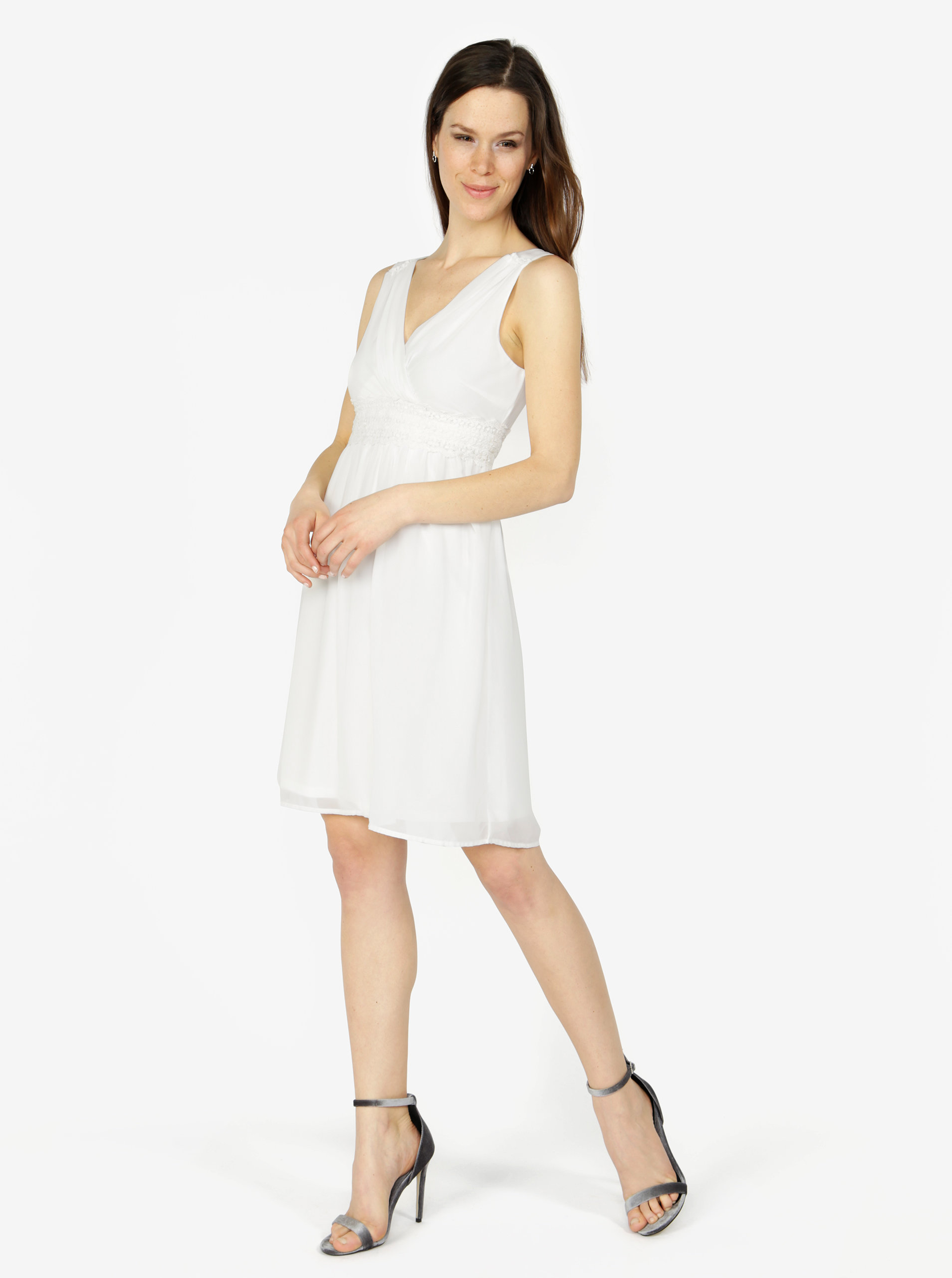 9f6d6390ad0 Krémové šaty s véčkovým výstřihem VERO MODA Mira ...