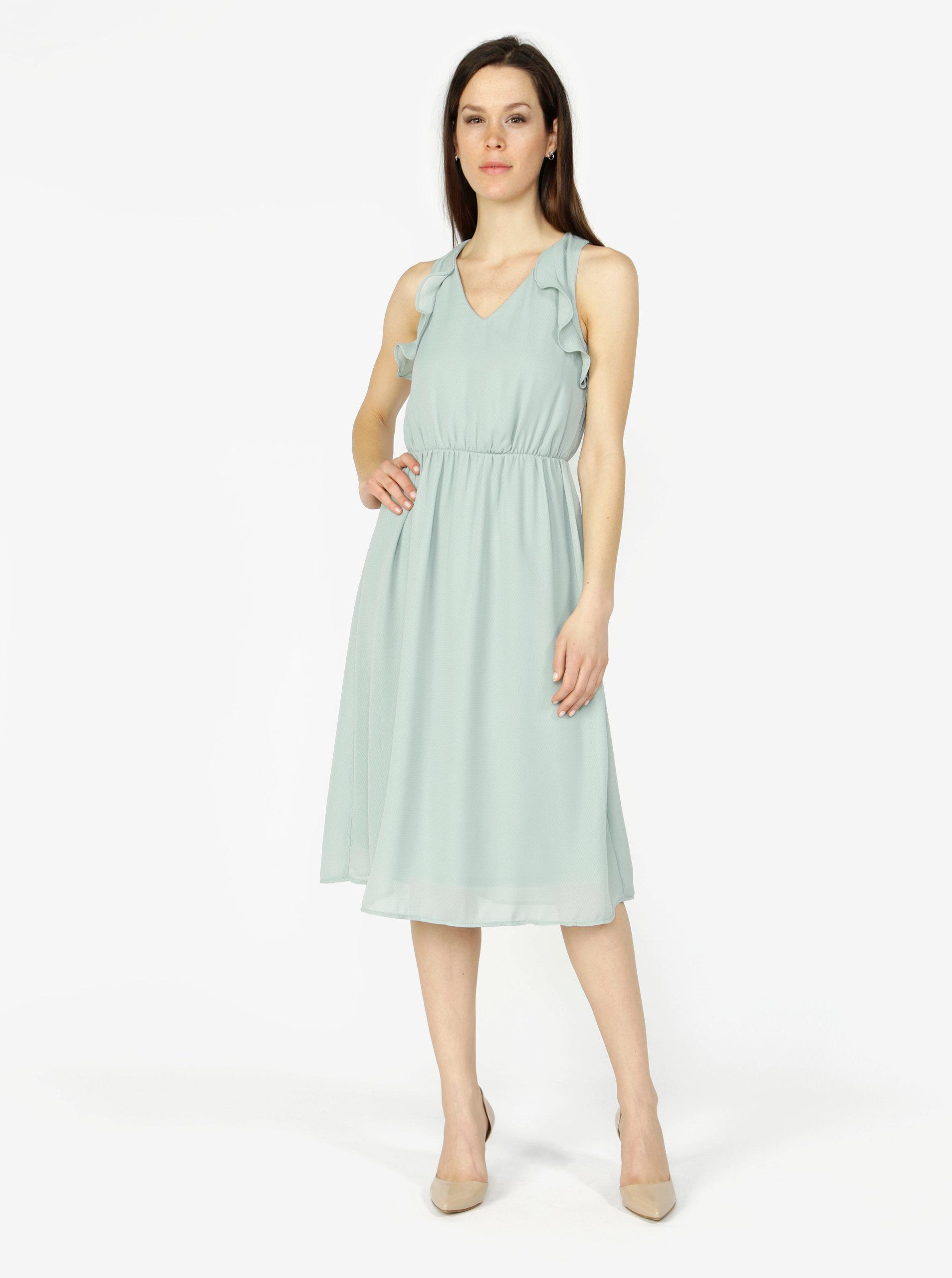 f09baa3cfee Mentolové šaty s volány VERO MODA Iris ...