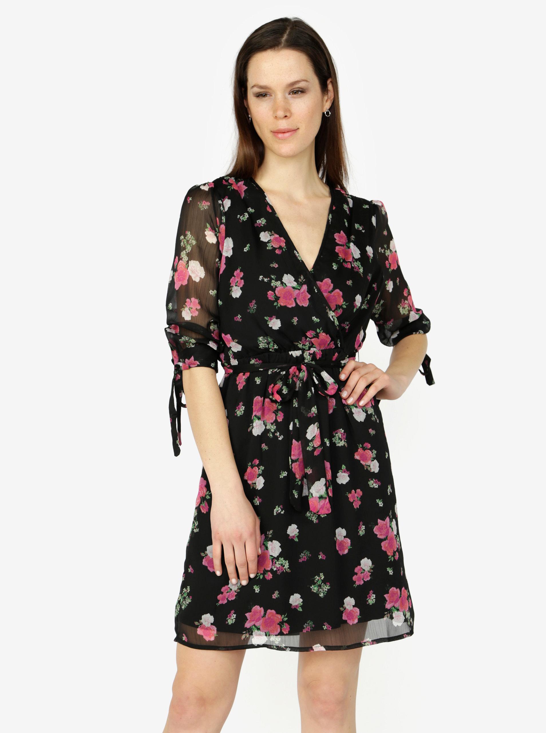 3116b2e6d7ff Čierne kvetované šaty s 3 4 rukávom VERO MODA Lili mini ...