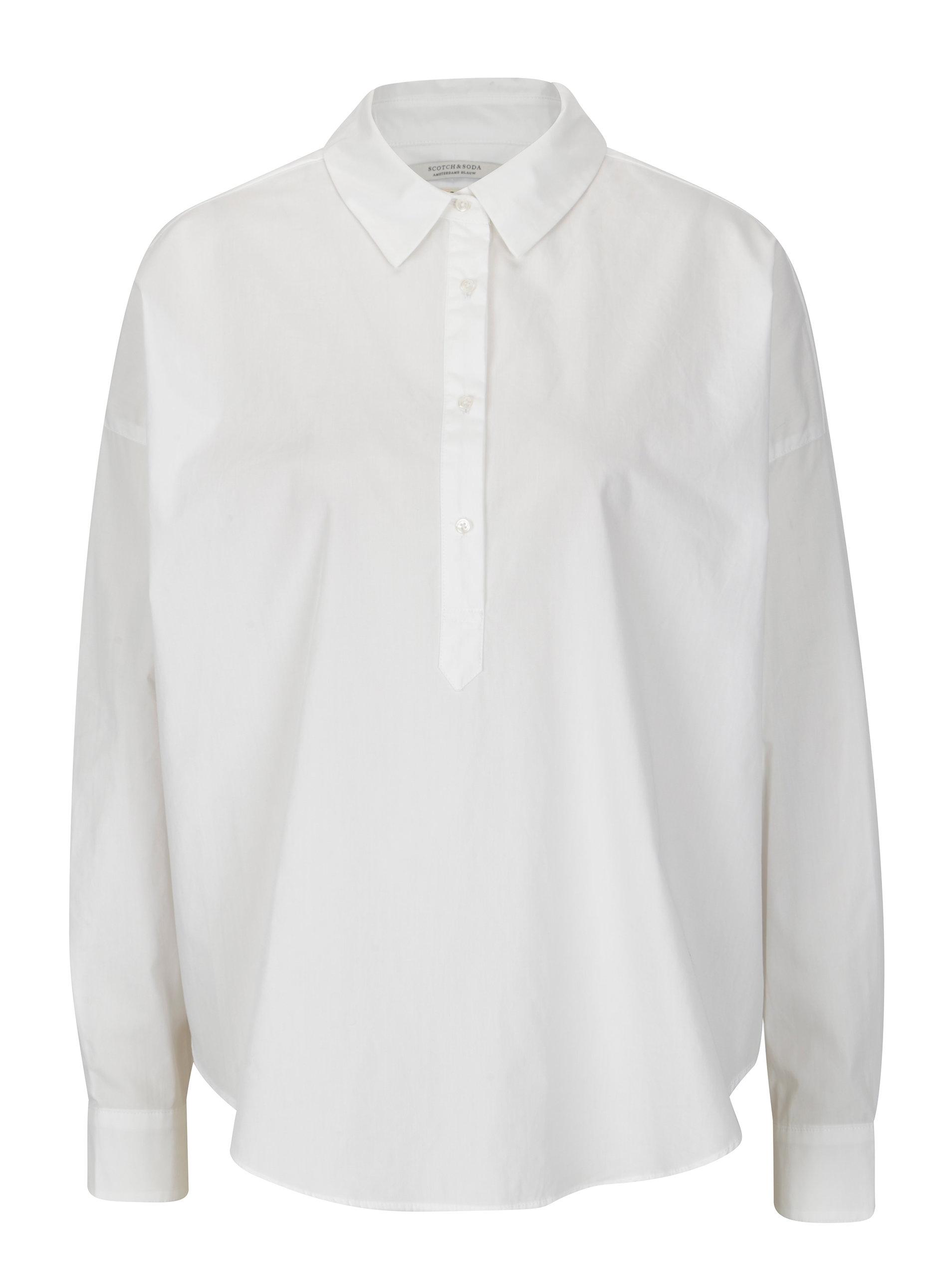 Bílá košile s prodlouženým zadním dílem Scotch   Soda ... 30e19d0690