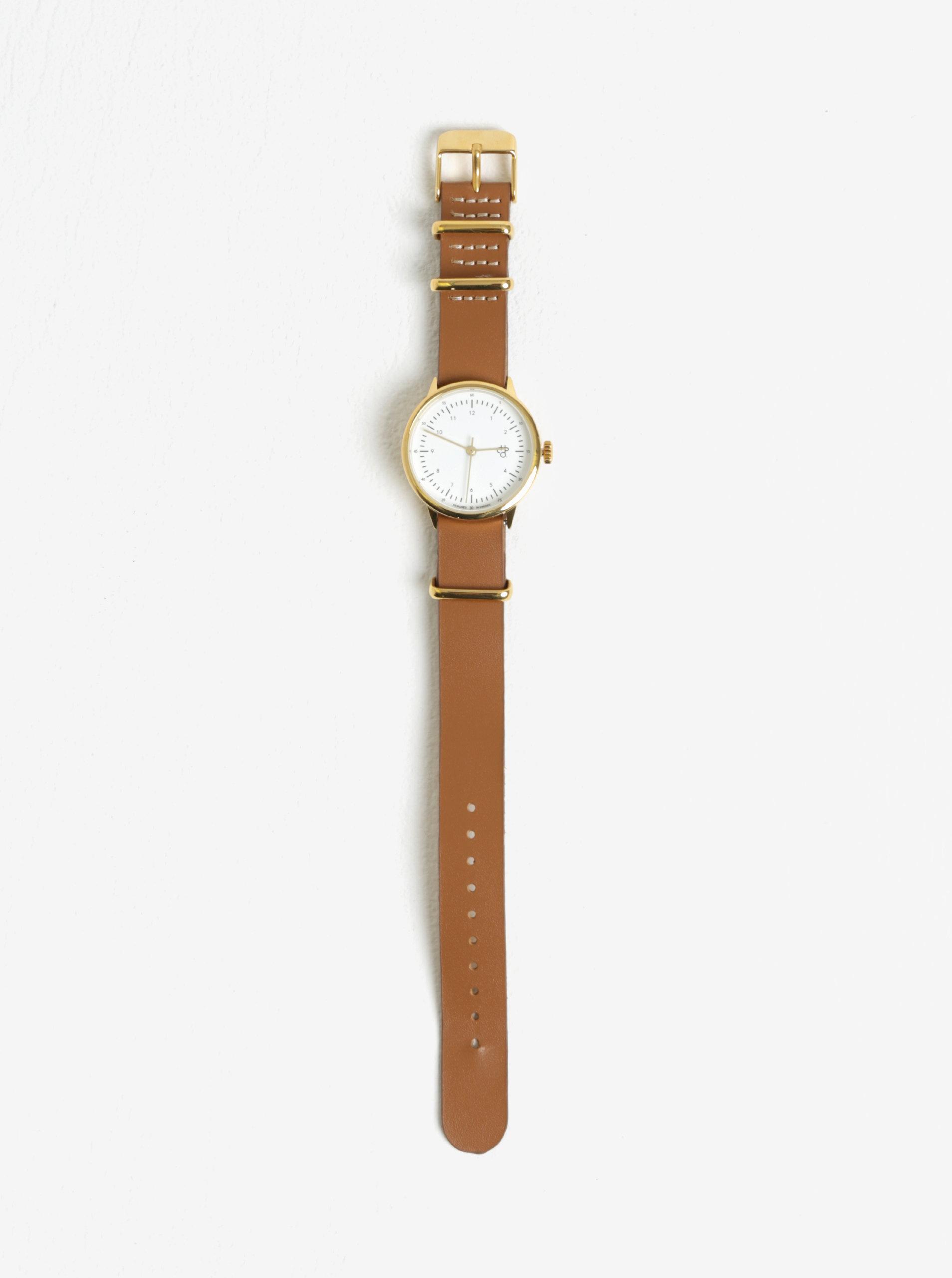 ... Dámské hodinky ve zlaté barvě s hnědým koženým páskem CHPO Harold Mini  Gold ... bc53c5f77b