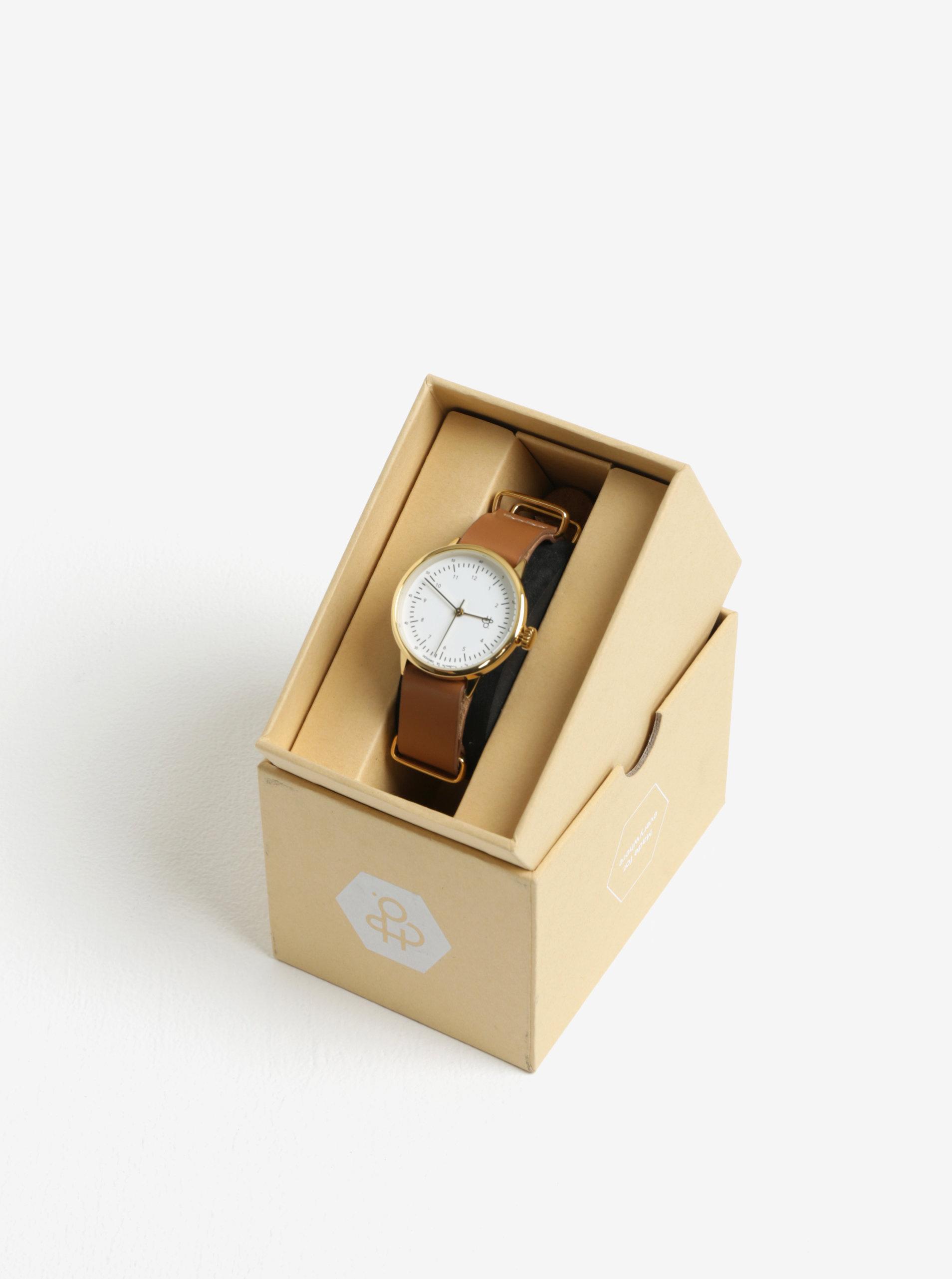 ... Dámské hodinky ve zlaté barvě s hnědým koženým páskem CHPO Harold Mini  Gold 07a26fd7ef