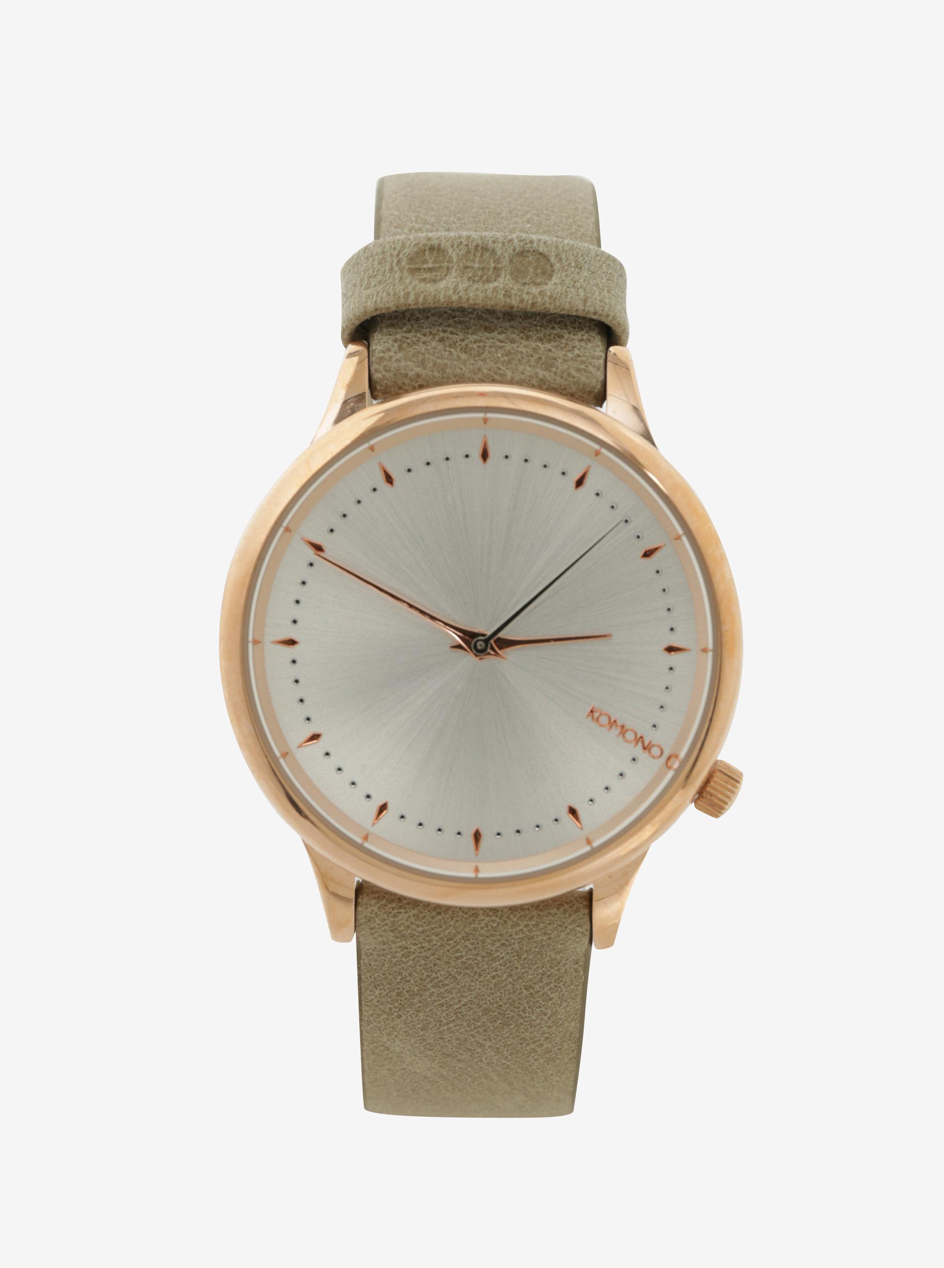 Dámske hodinky v zlatej farbe s koženým remienkom Komono Estelle ... 327f78164df