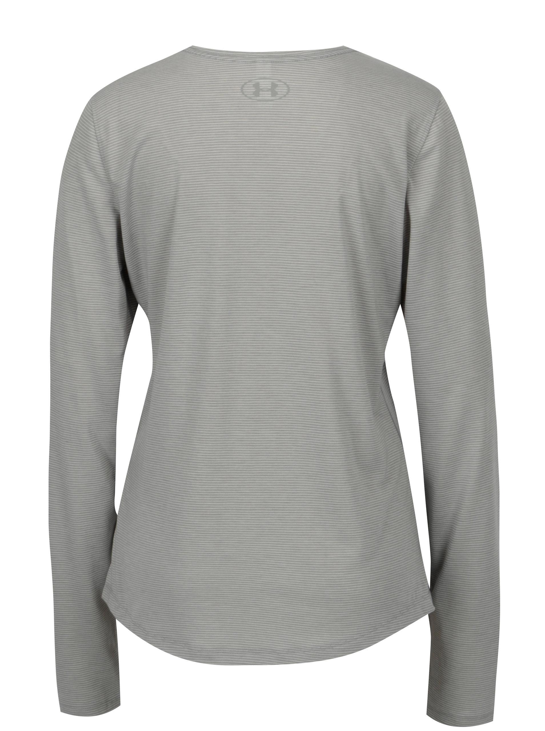 Sivé dámske pruhované funkčné tričko Under Armour Streaker ... 8beea46bca0