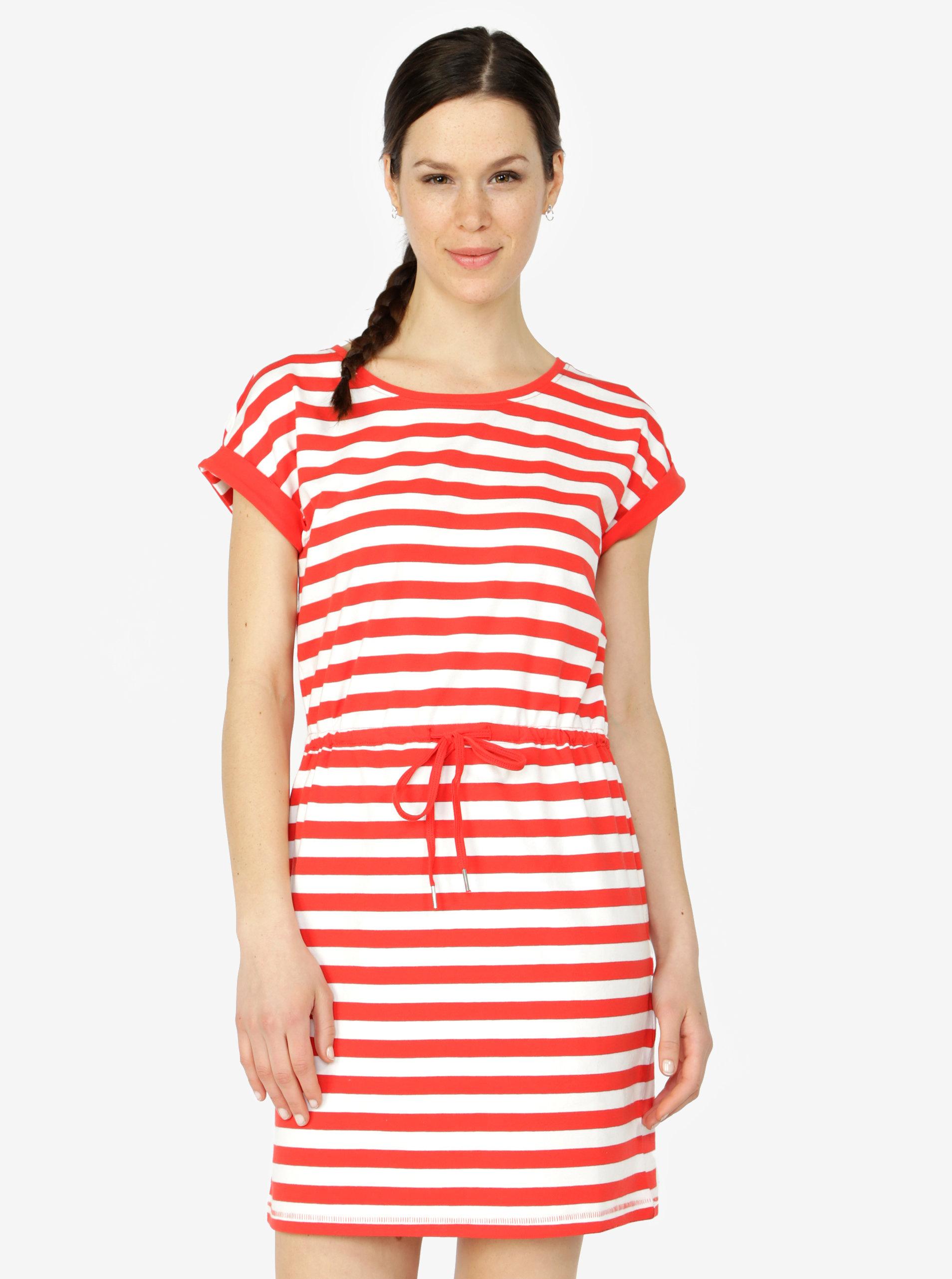 11467e7a9658 Červené pruhované šaty s krátkým rukávem ONLY Amber ...