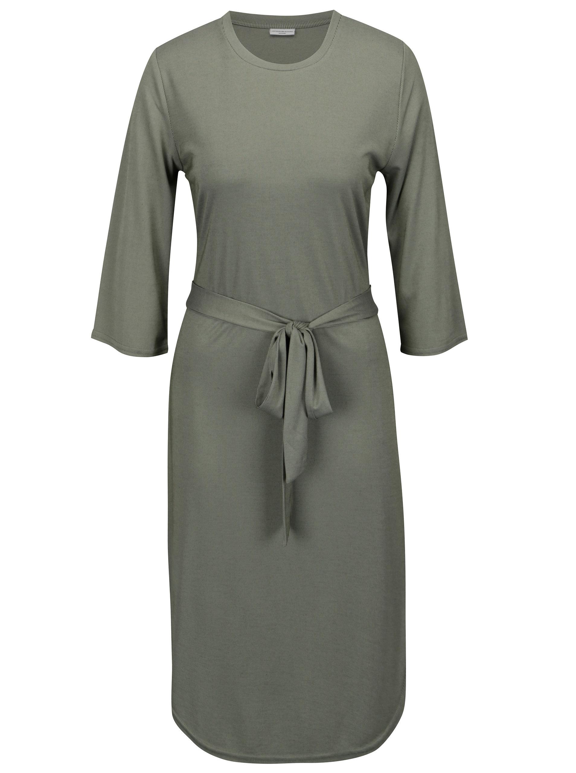 782940a8e0 Svetle zelené rebrované šaty s opaskom Jacqueline de Yong Ban ...