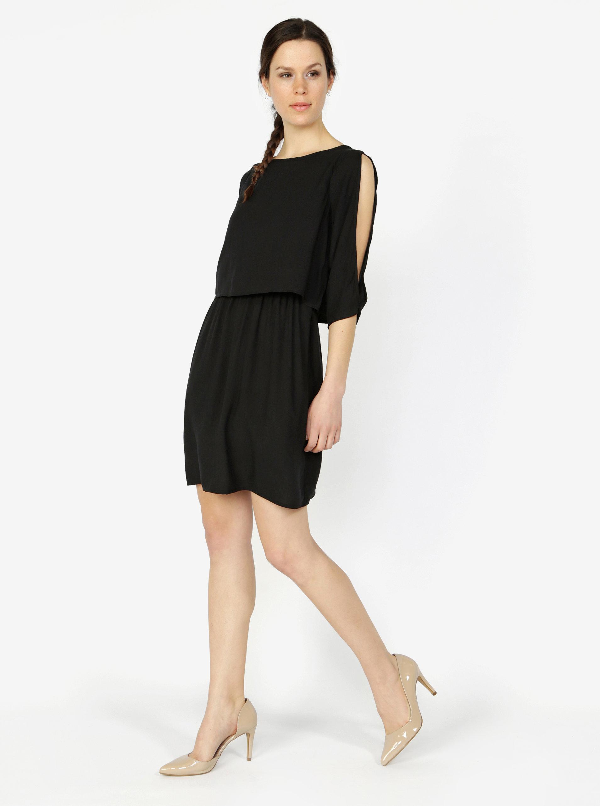 089364e1248 Černé šaty s 3 4 rukávem VERO MODA Boca ...