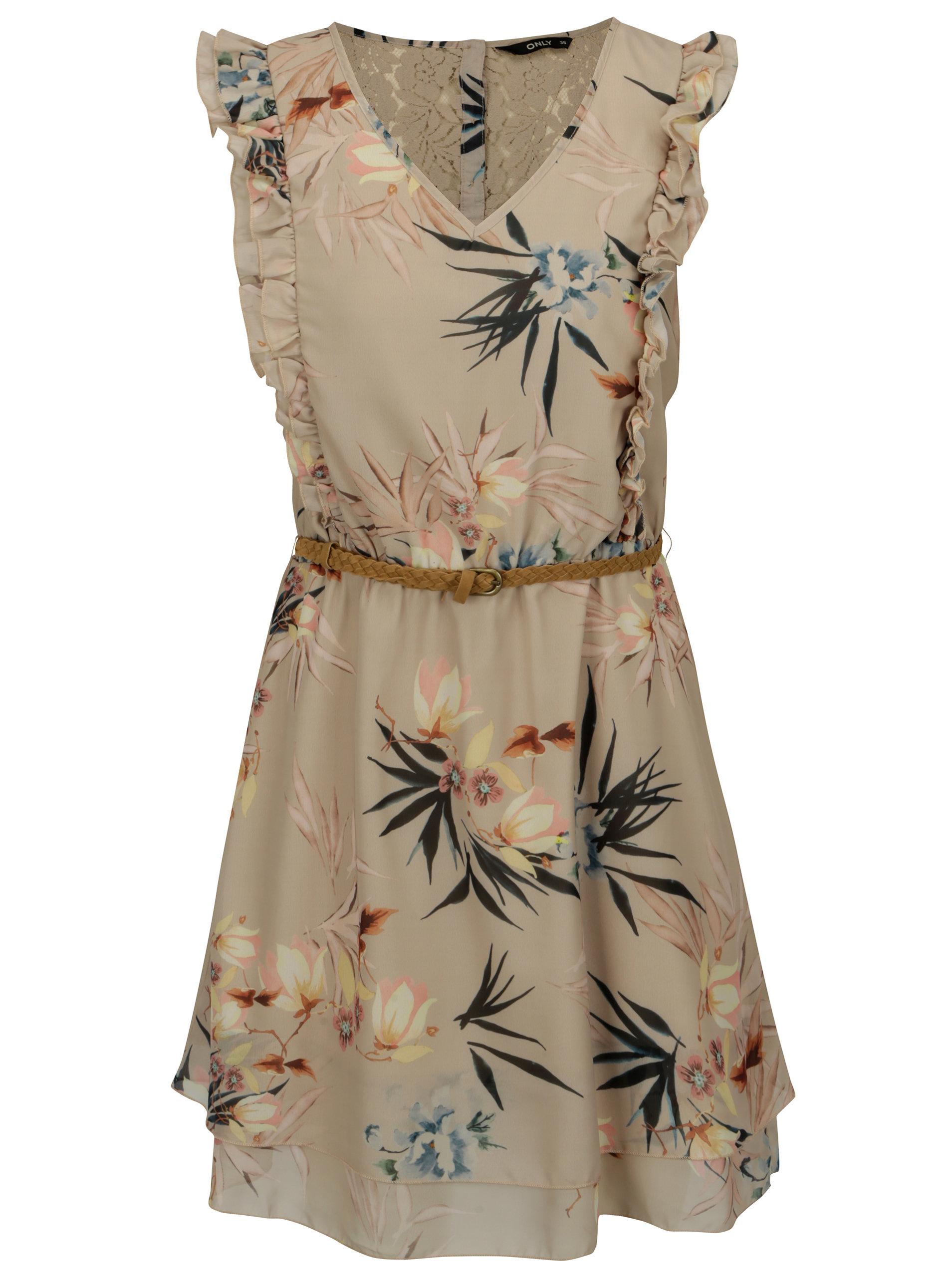 Béžové kvetované šaty s čipkou na chrbte a volánikmi ONLY Libby ... cf8fff5b642