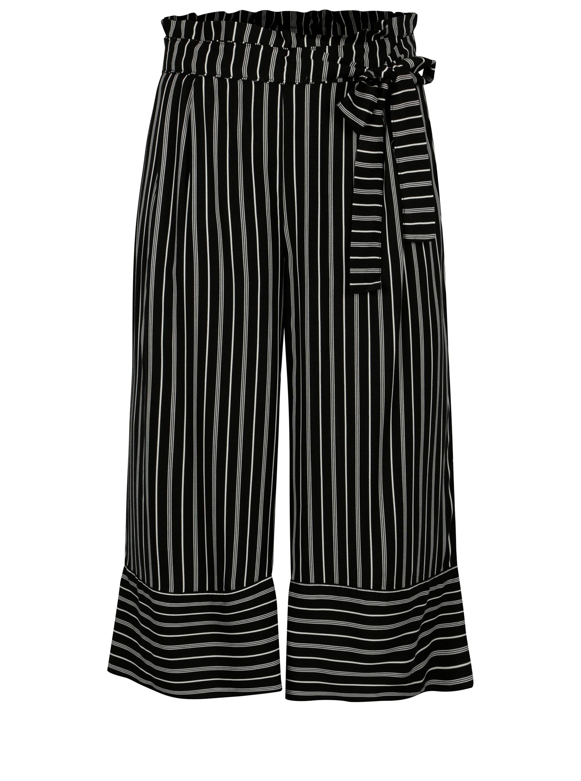 Bílo-černé pruhované culottes s vysokým pasem Jacqueline de Yong Cilja ... 19d14d2148