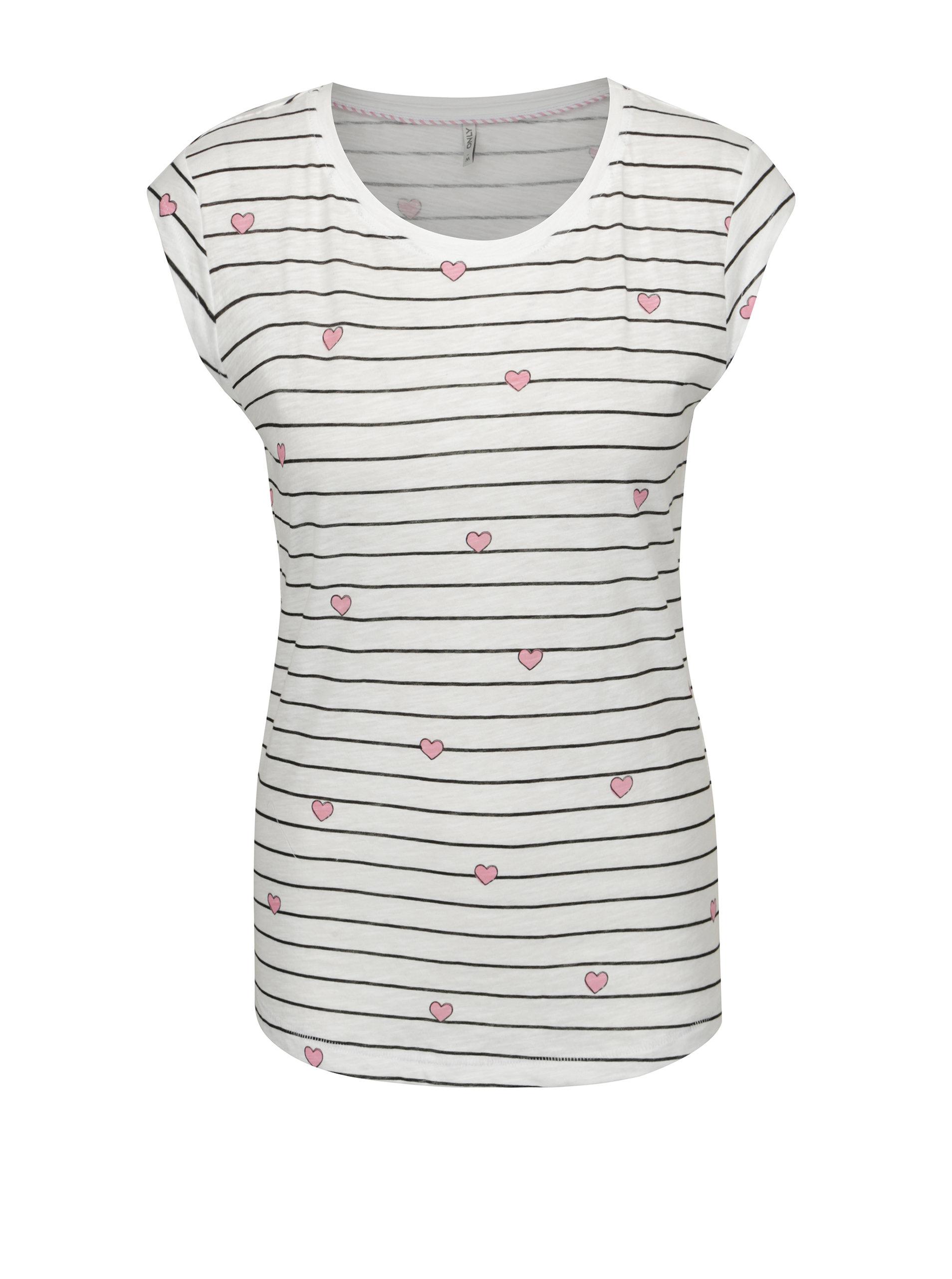 1776c0c111b1 Biele pruhované tričko s potlačou srdiečok ONLY Bone ...