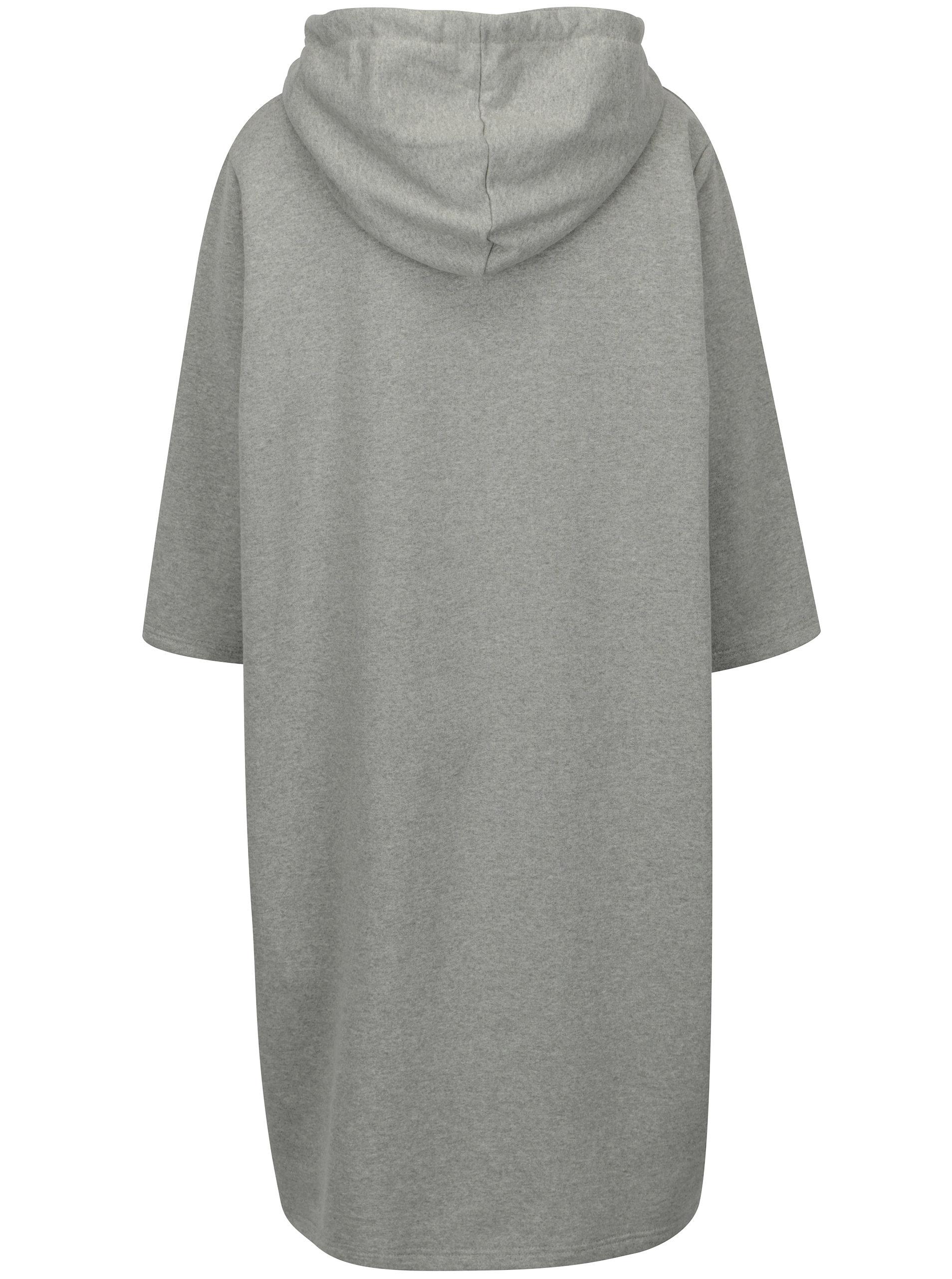Šedé oversize mikinové šaty s kapucí a 3 4 rukávem Zizzi ... 0dab1971d5