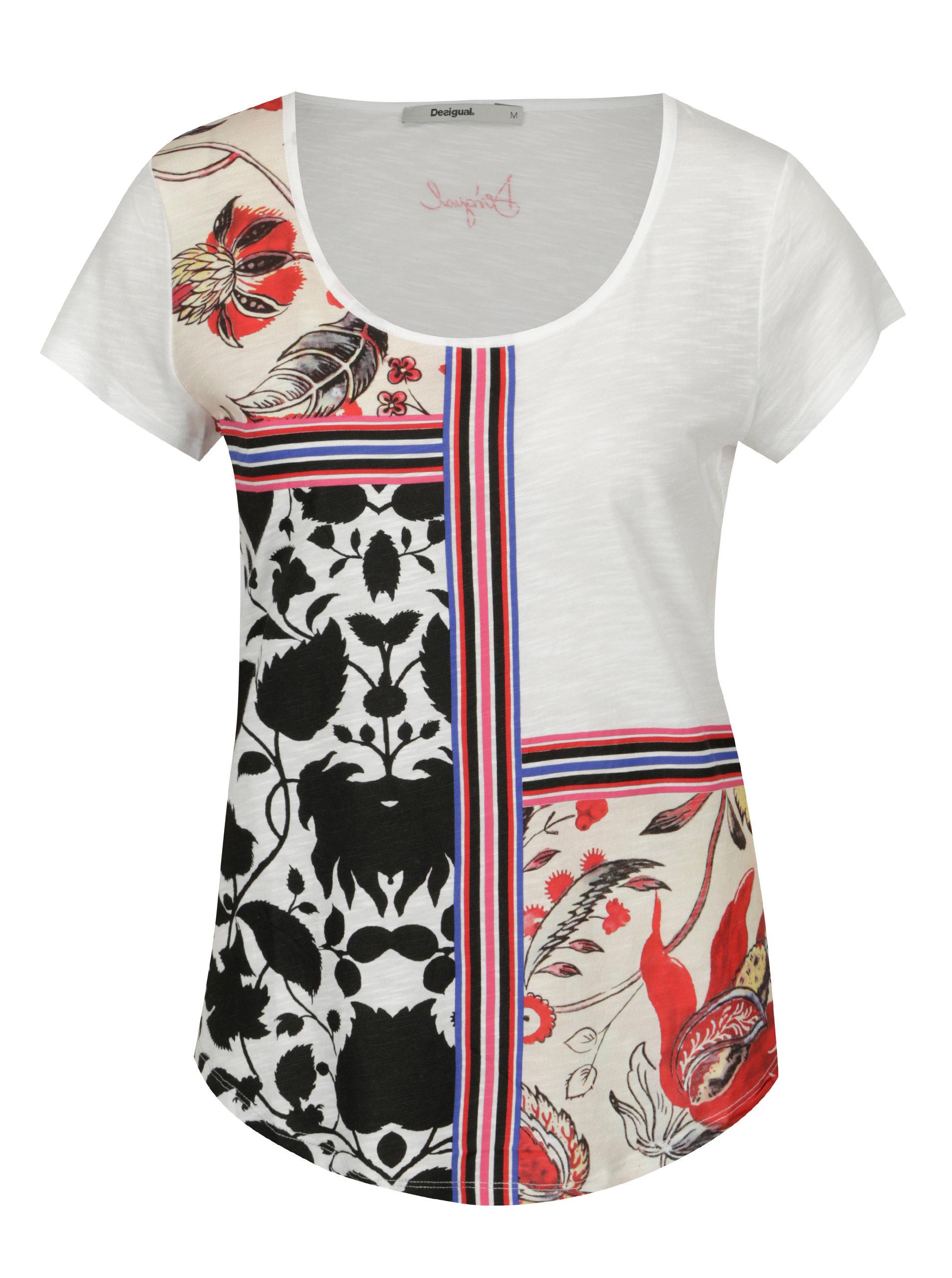 Biele vzorované tričko s krátkym rukávom Desigual Deo ... d8de7c97bd2