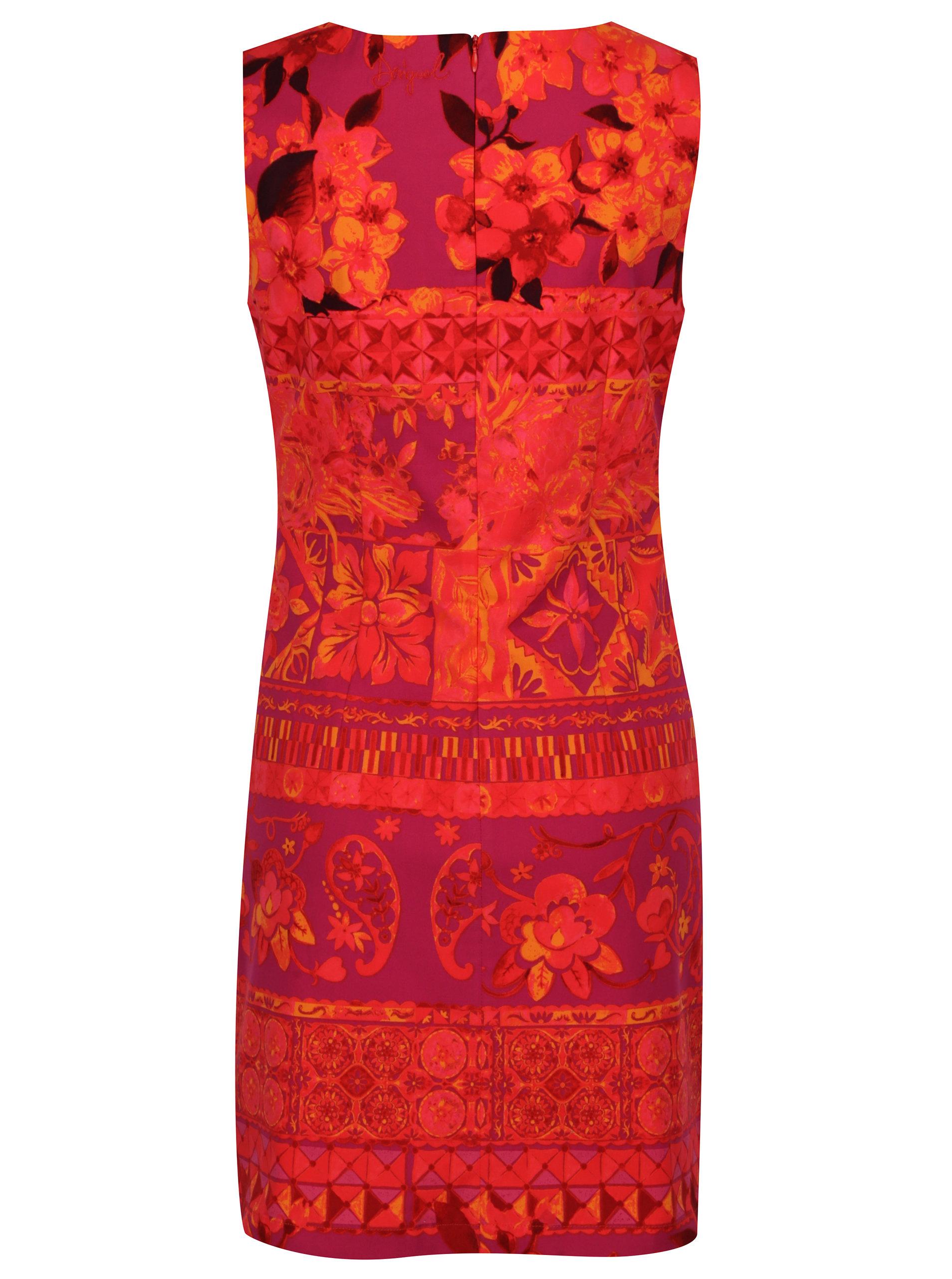 Fialovo-oranžové šaty Desigual Angelina ... 74070a8cf2a