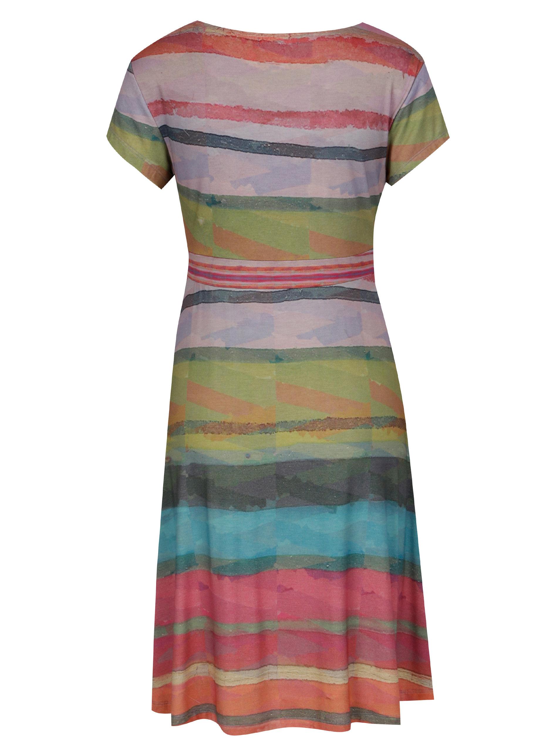 d4aada6f436 Růžovo-zelené šaty s krátkým rukávem Desigual Tutti Frutti ...