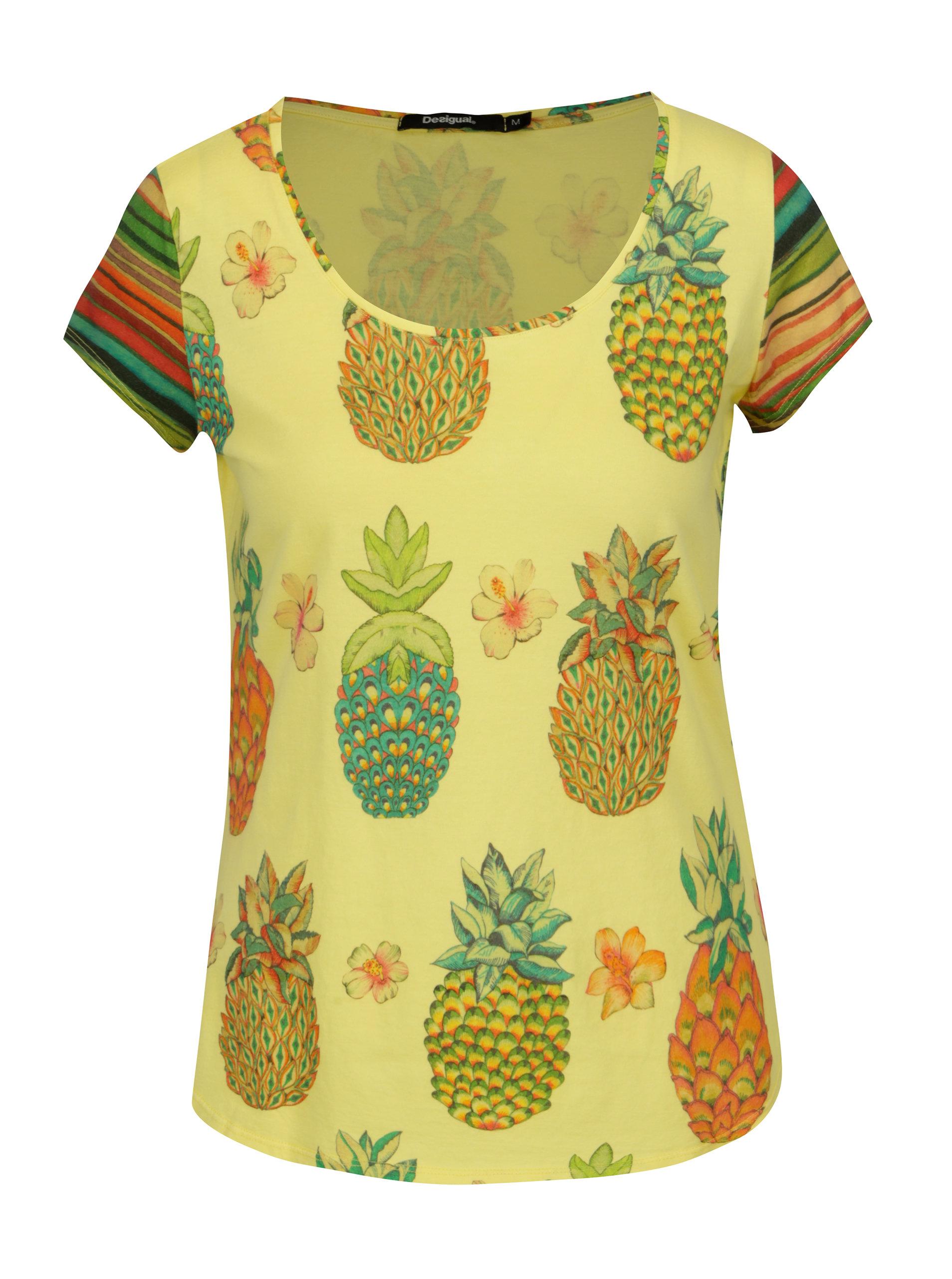 a01dcabe34 Žlté tričko s potlačou ananásov Desigual Camille ...