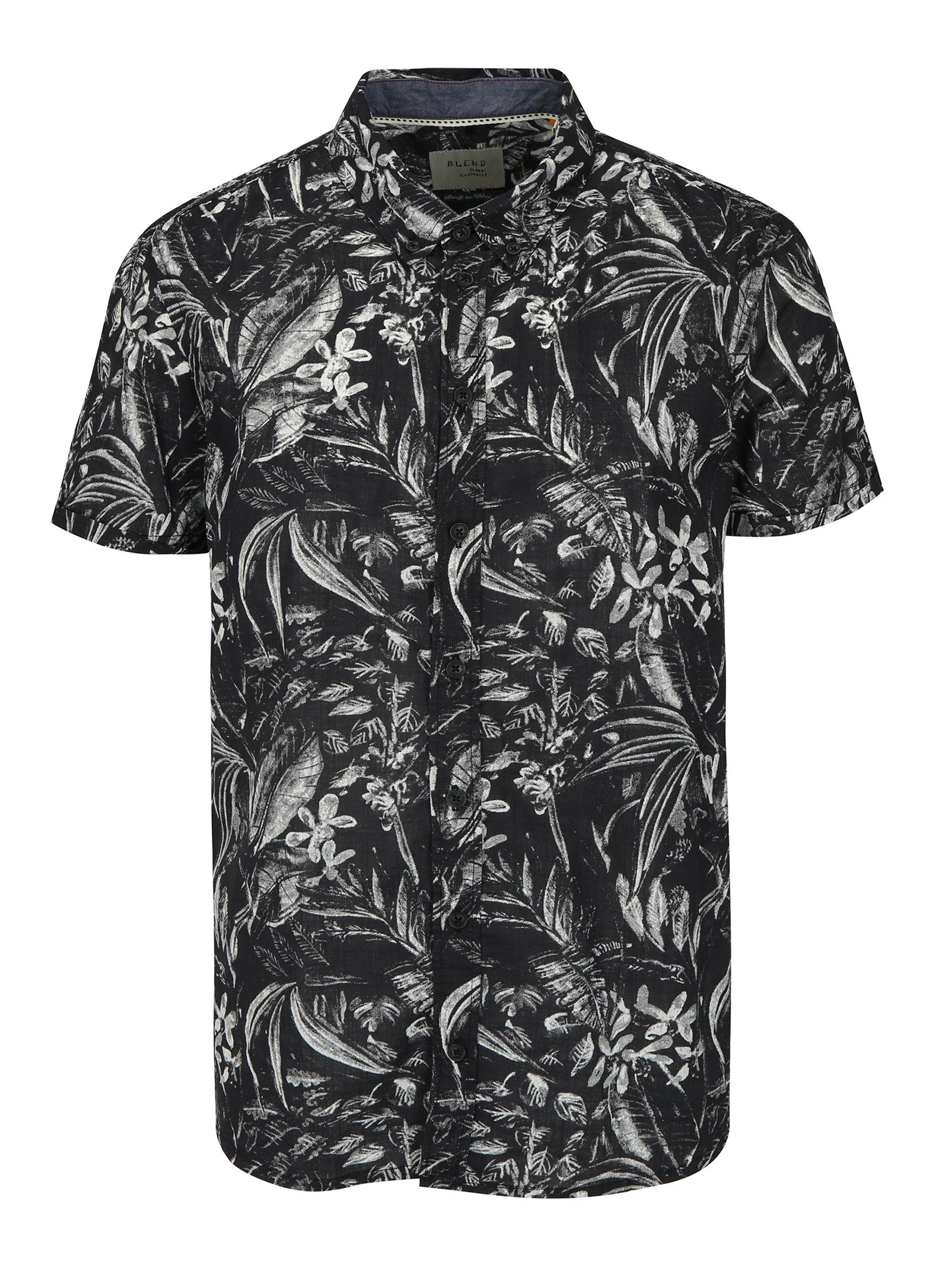 ac81e745561 Krémovo-černá vzorovaná slim fit košile s krátkým rukávem Blend
