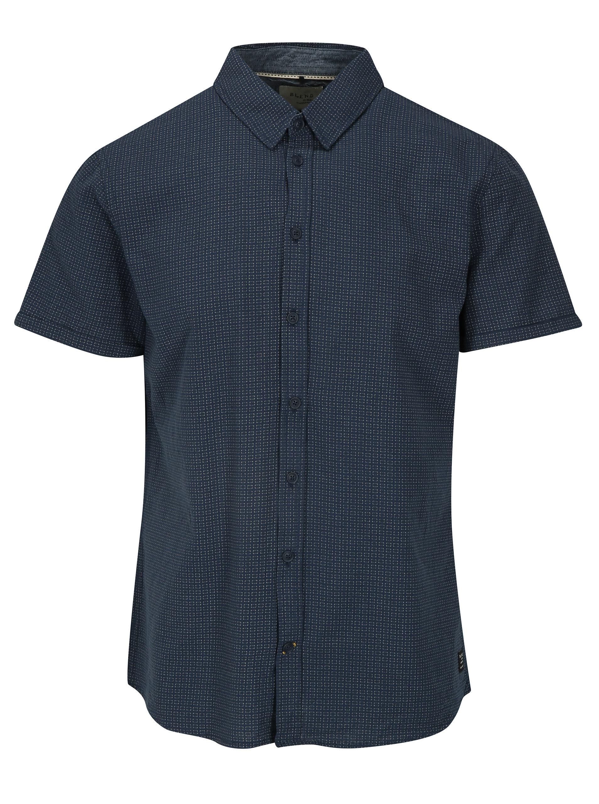 2d973d57696 Tmavě modrá vzorovaná slim fit košile Blend ...