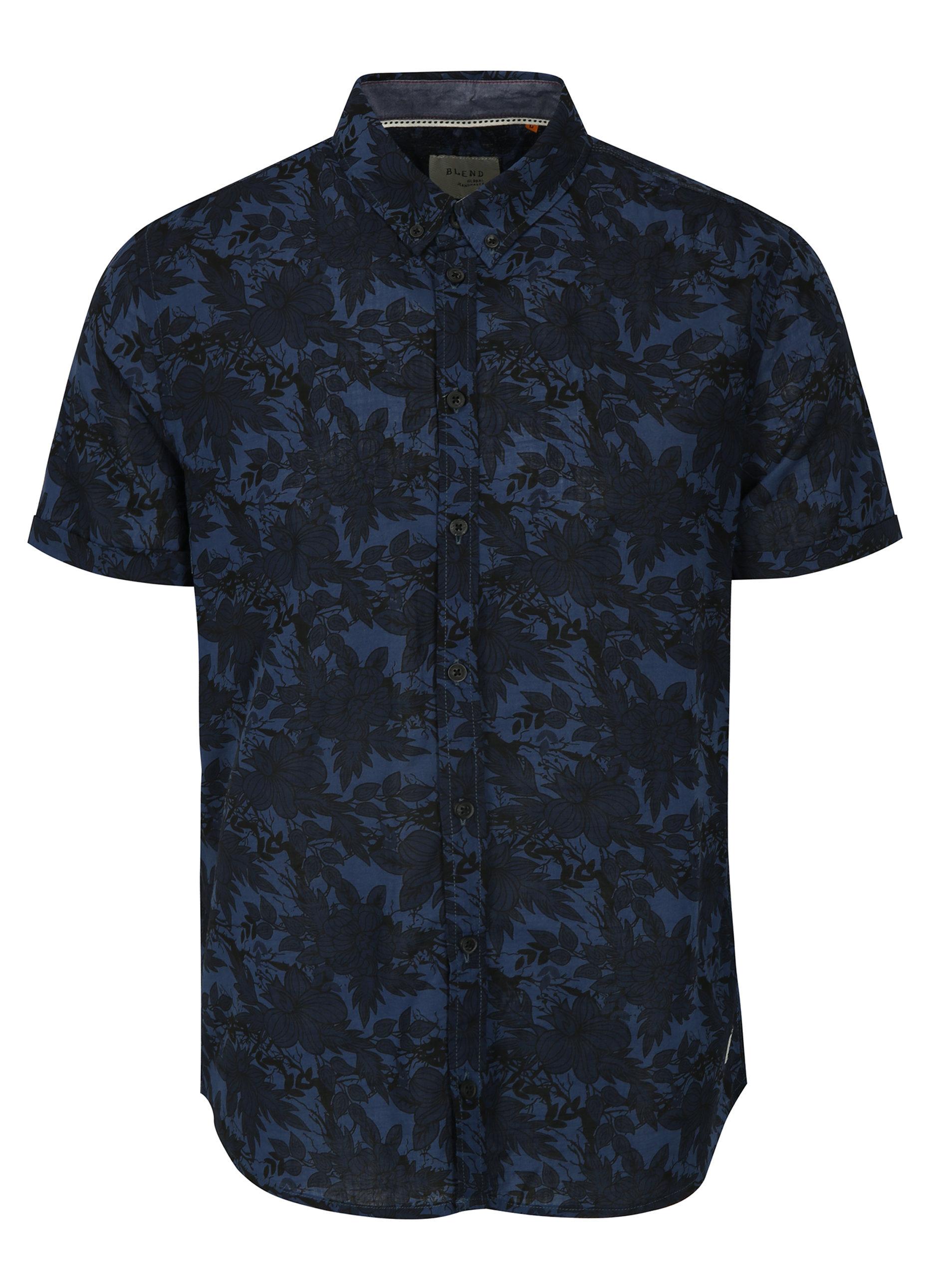 0f702f8ba08 Tmavě modrá květovaná slim fit košile Blend ...