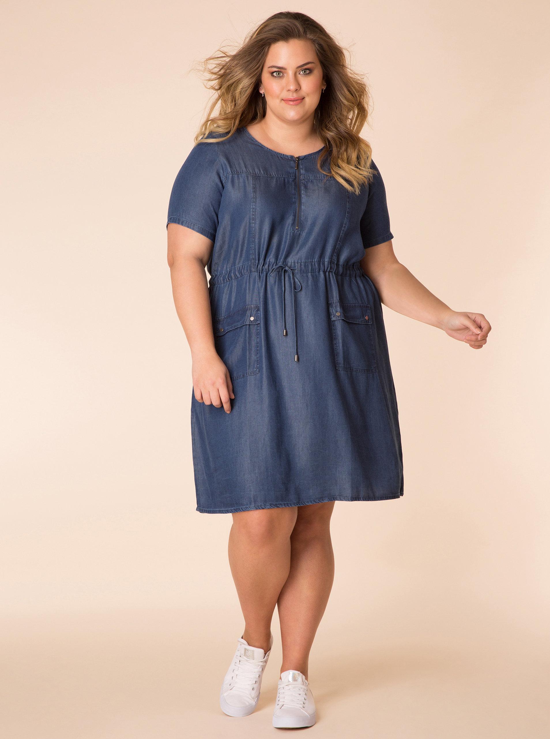 213246ddeff Tmavě modré džínové šaty s krátkým rukávem Yest ...