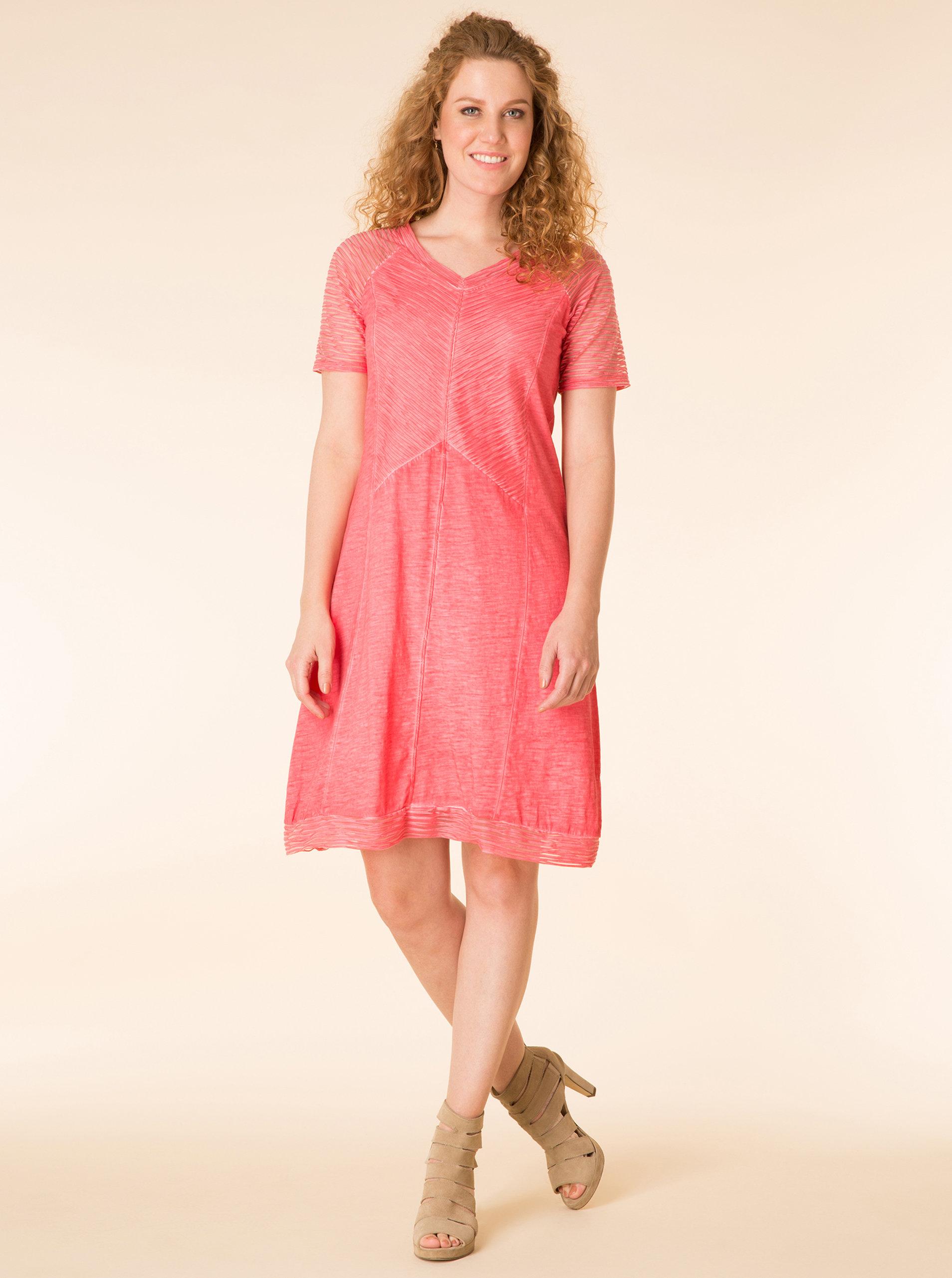 78f3b9f169c7 Ružové melírované šaty s krátkym rukávom Yest ...