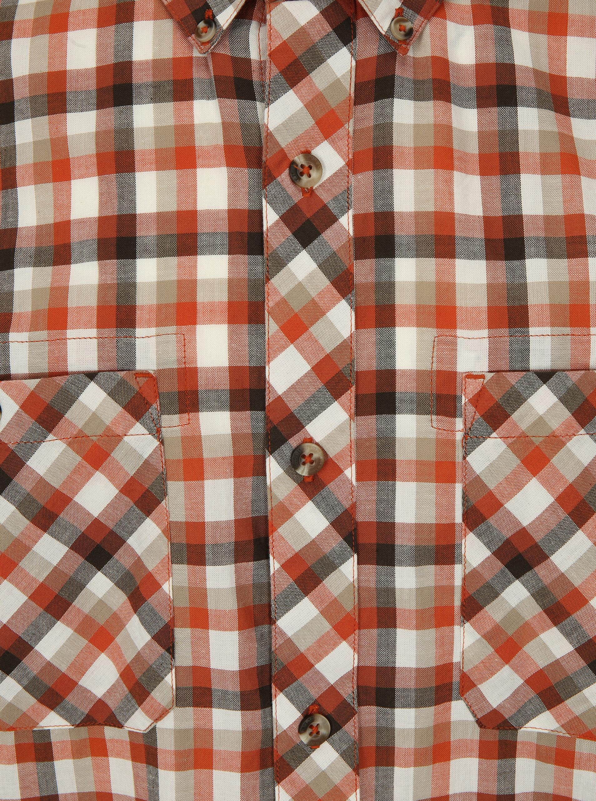 Krémovo-cihlová kostkovaná košile BUSHMAN Creole - SLEVA!  730abe18a3