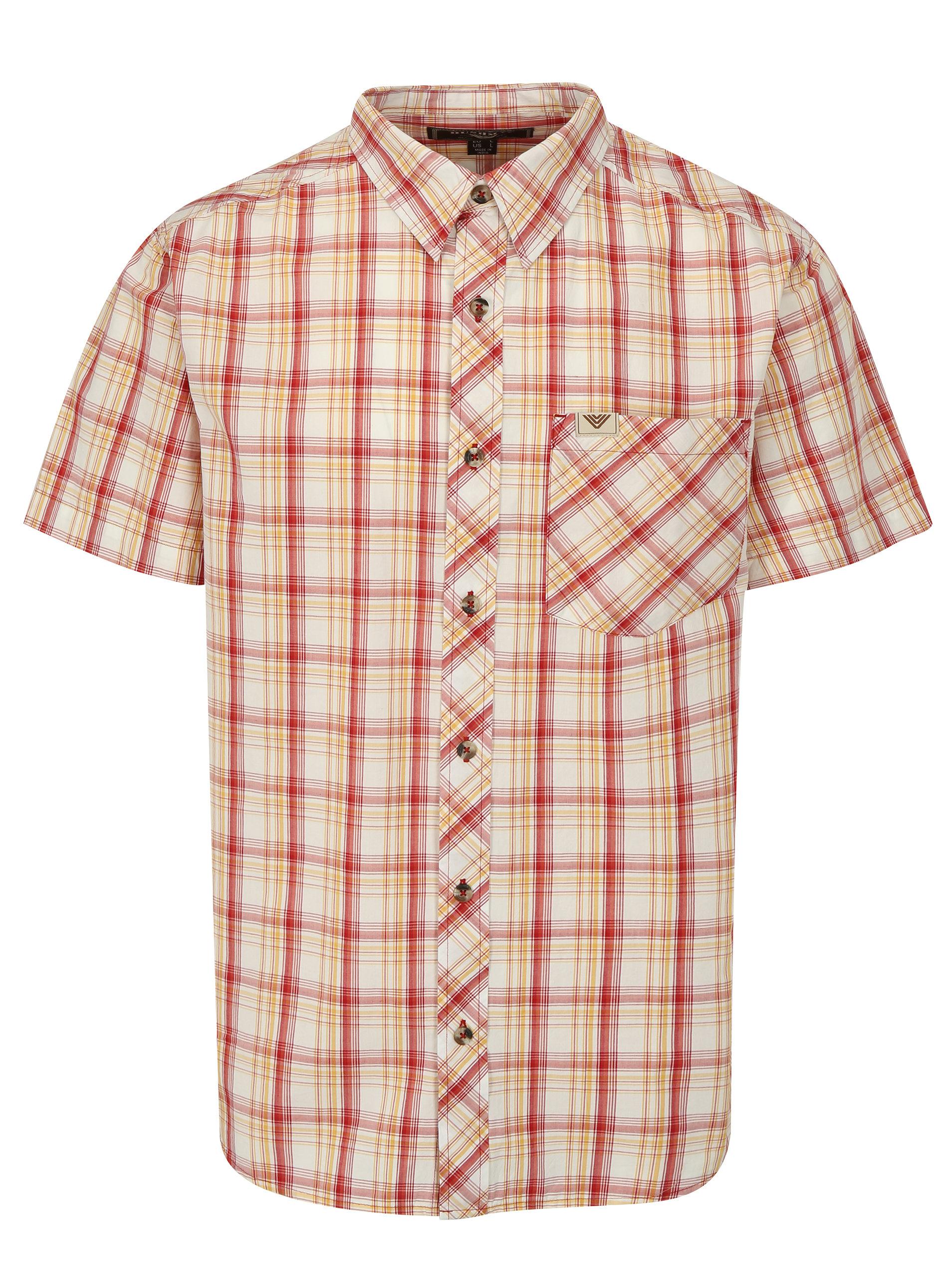 Červeno-žlutá pánská kostkovaná košile BUSHMAN Inez ... ce0b9a461f
