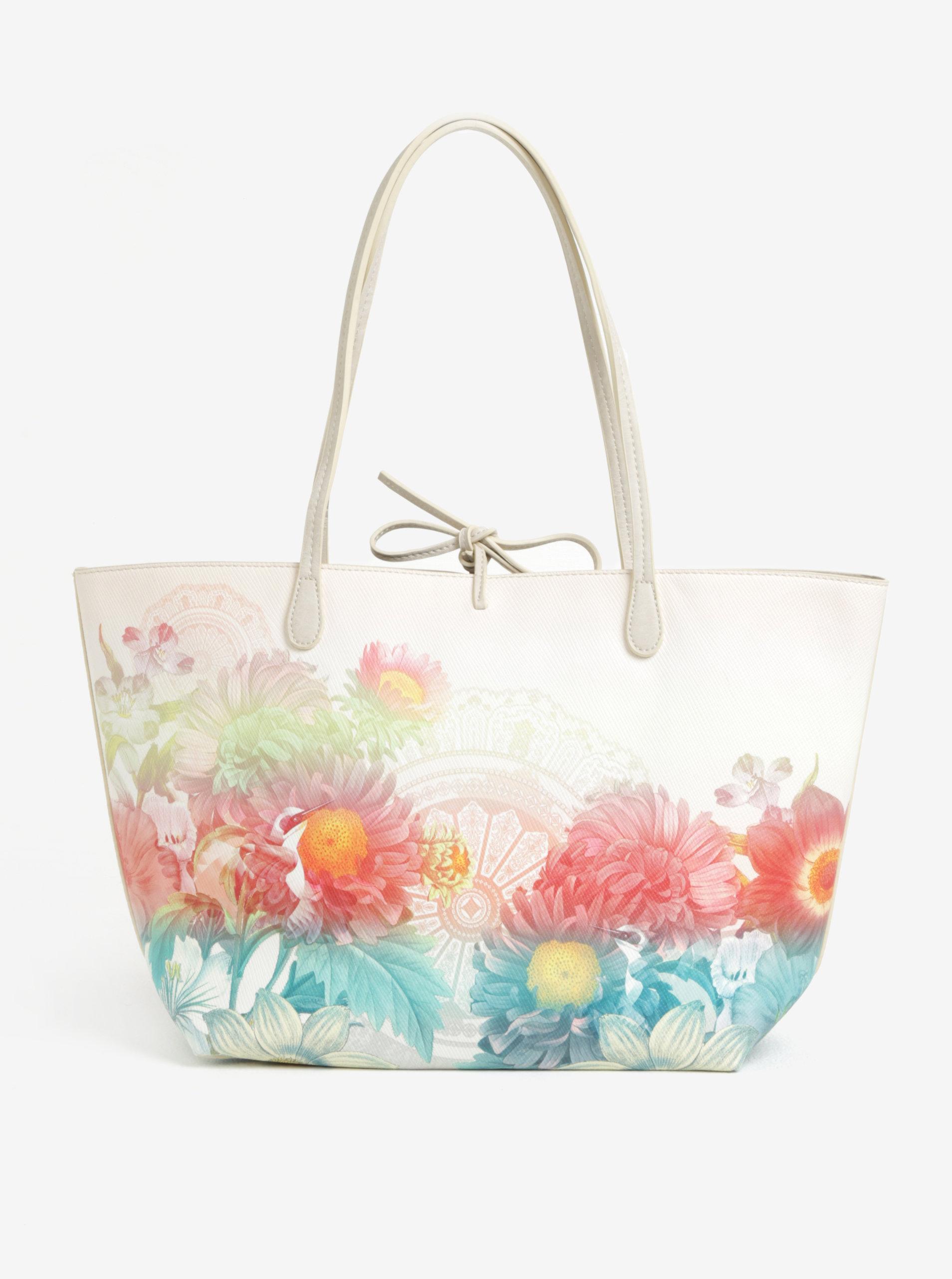 Krémový kvetinový obojstranný shopper s puzdrom 2v1 Desigual Valkyria New  Capri ... e46b9a644b4