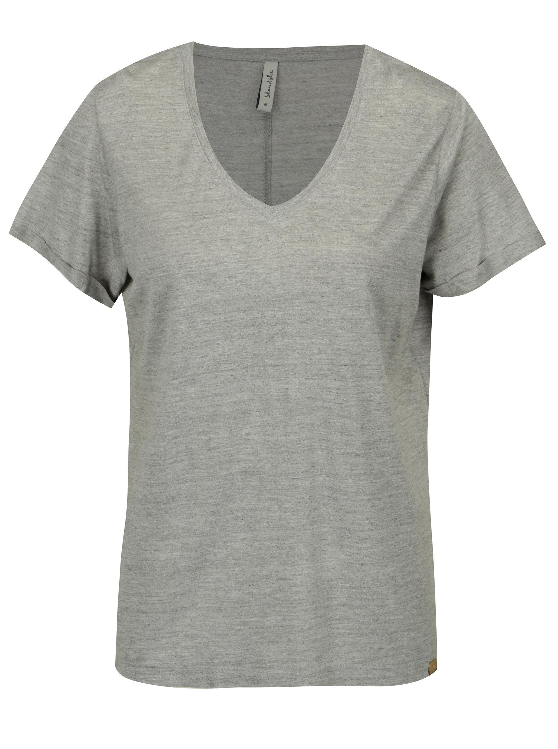 Svetlosivé melírované tričko s véčkovým výstrihom Blendshe Vibe ... e59d911a04a