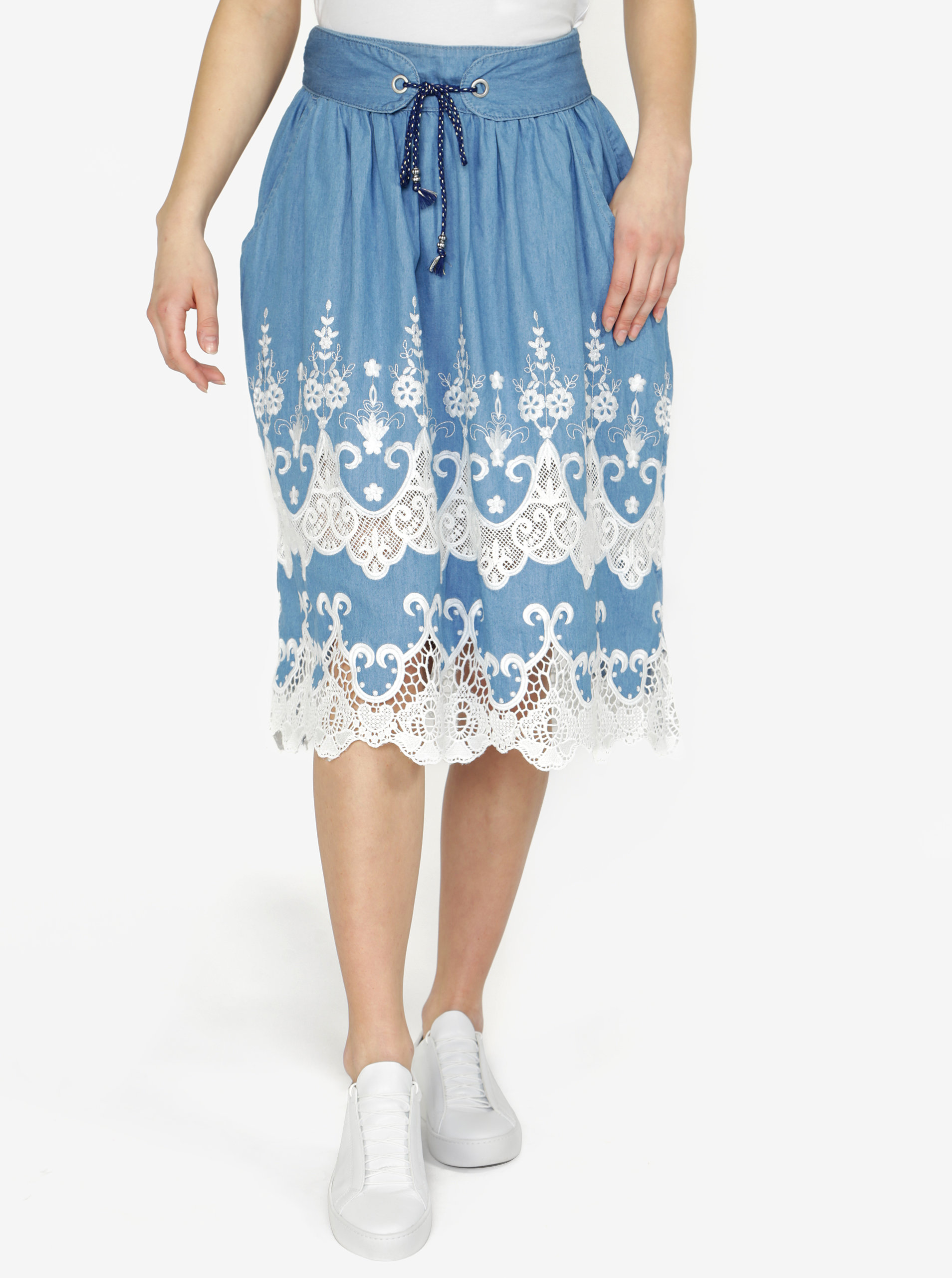 Modrá rifľová sukňa Desigual Blues Explosion ... 6e2e1ada55d
