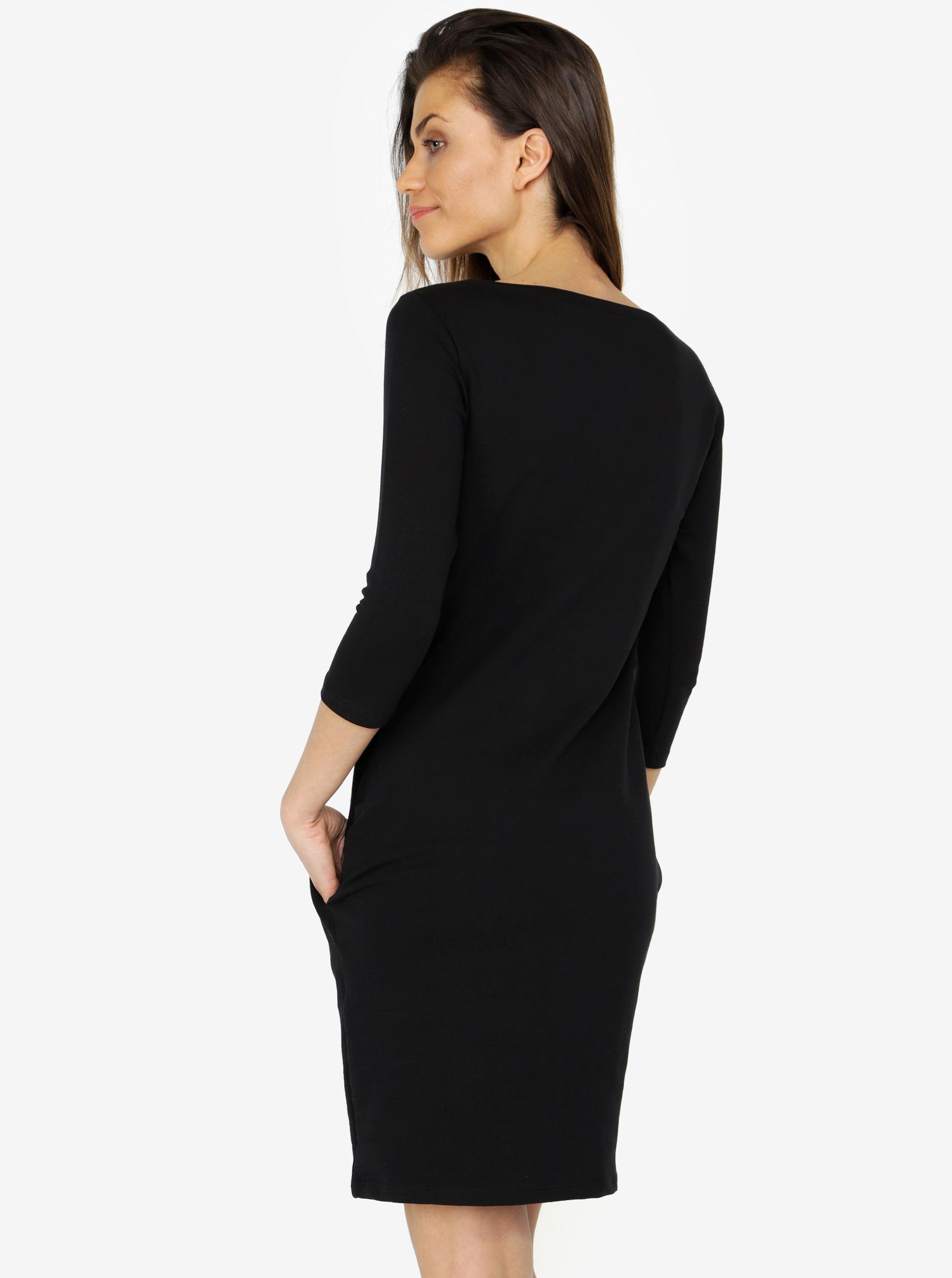904008fabdde Černé šaty s 3 4 rukávem ZOOT - SLEVA!