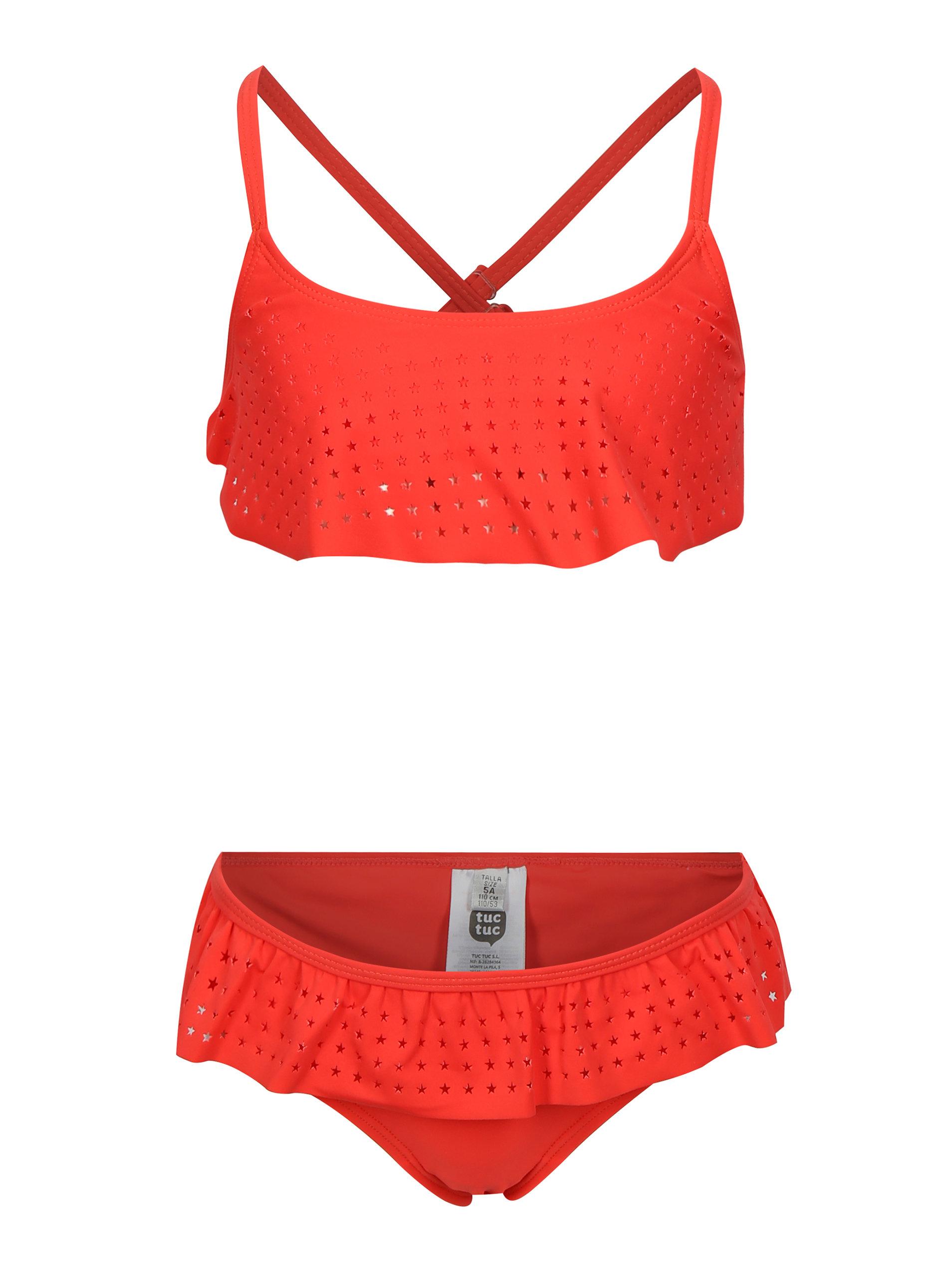 ef8e0ee33c Červené dievčenské dvojdielne plavky s volánmi tuc tuc Stars ...